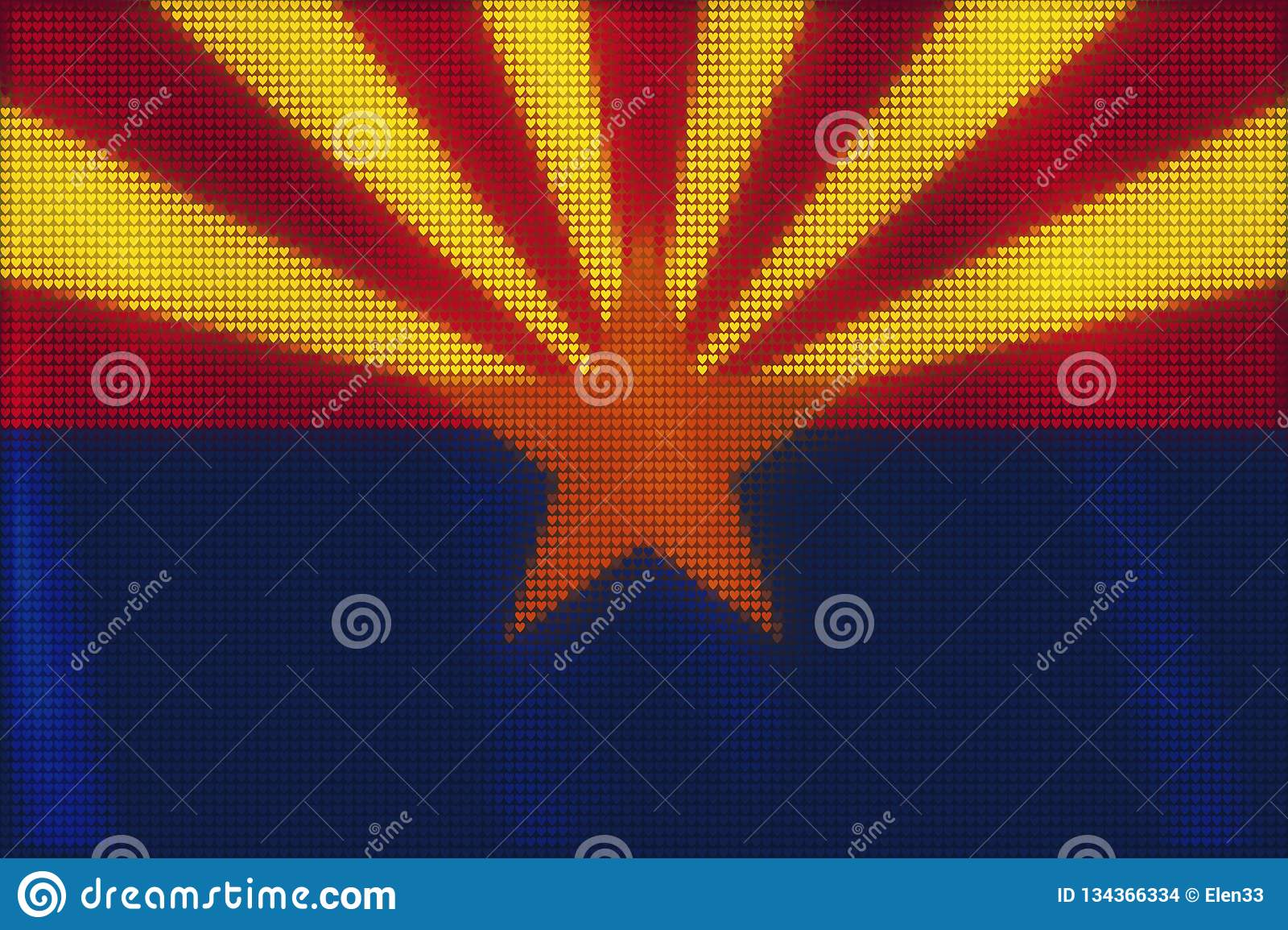 Peinture de tuiles de coeur de mosaïque de drapeau de l Arizona