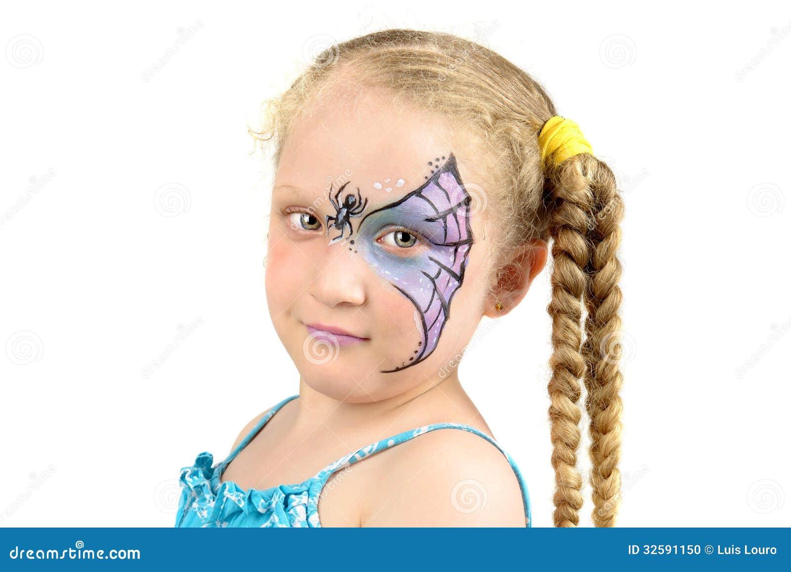 Peinture de visage toile d 39 araign e photo stock image - Maquillage toile d araignee visage ...