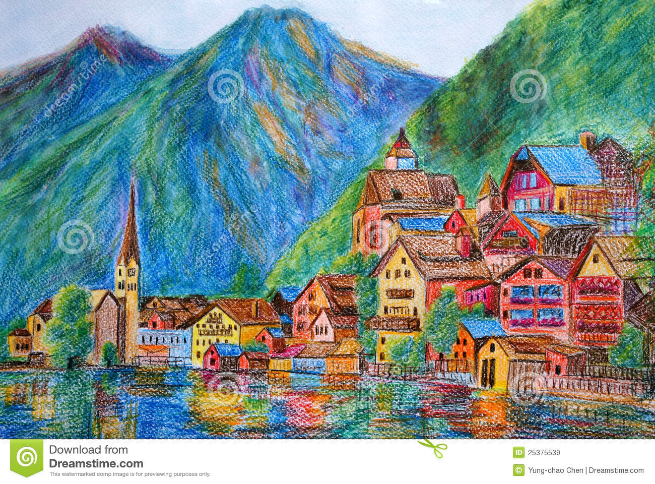 peinture en pastel autriche hallstatt illustration stock illustration du color glise. Black Bedroom Furniture Sets. Home Design Ideas