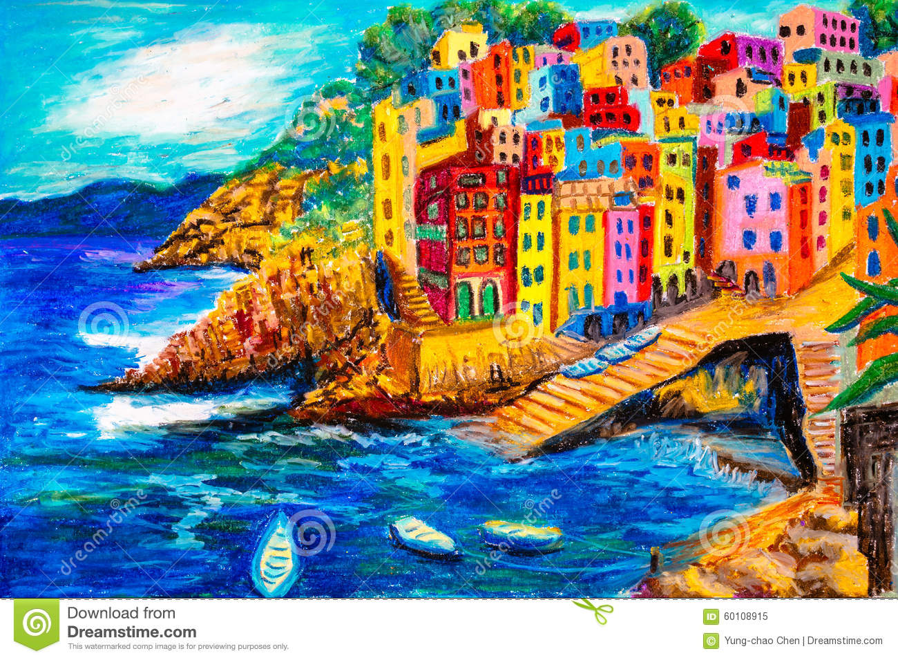 peinture en pastel riomaggiore italie illustration stock image 60108915. Black Bedroom Furniture Sets. Home Design Ideas