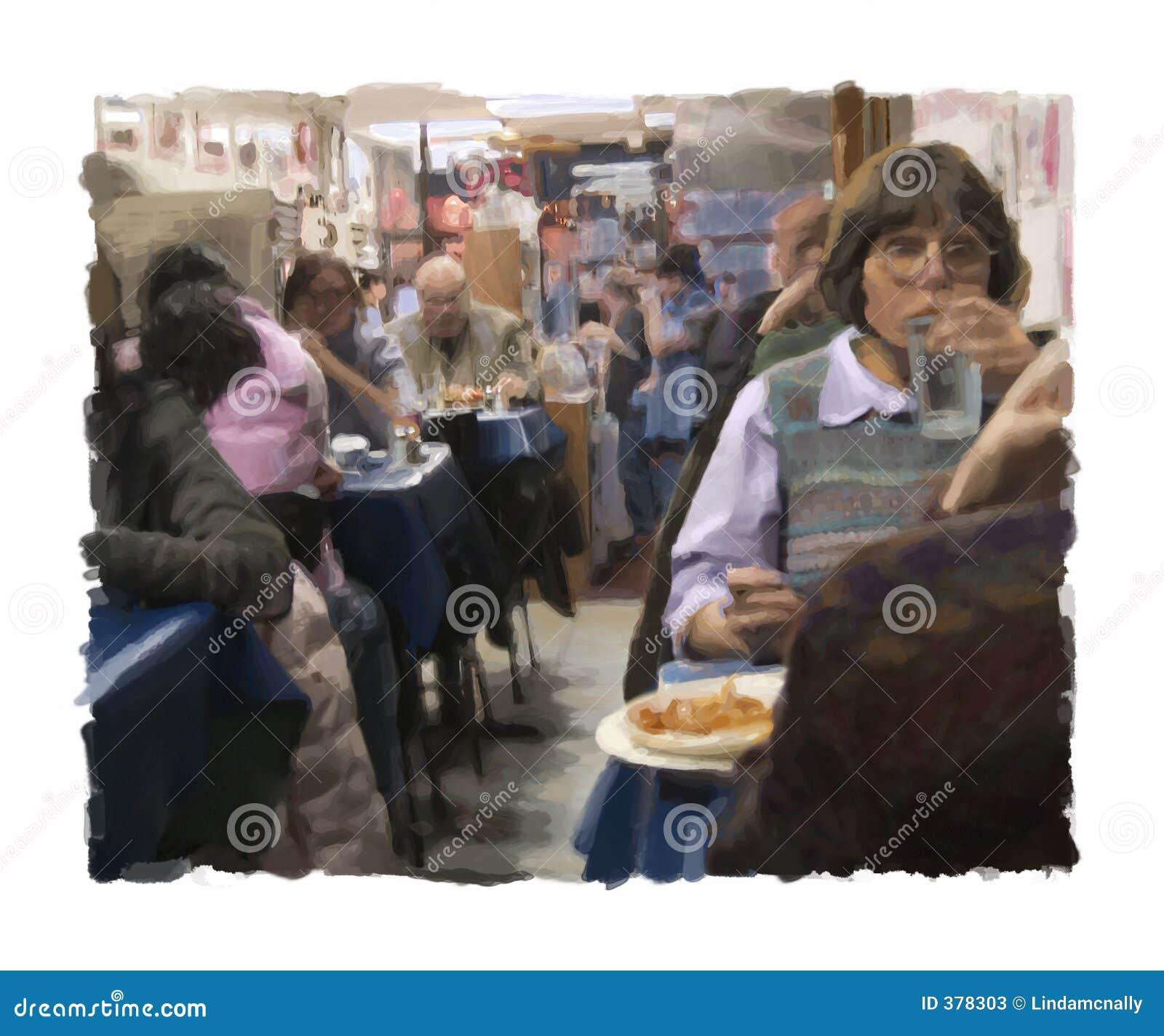 Peinture grecque de wagon-restaurant