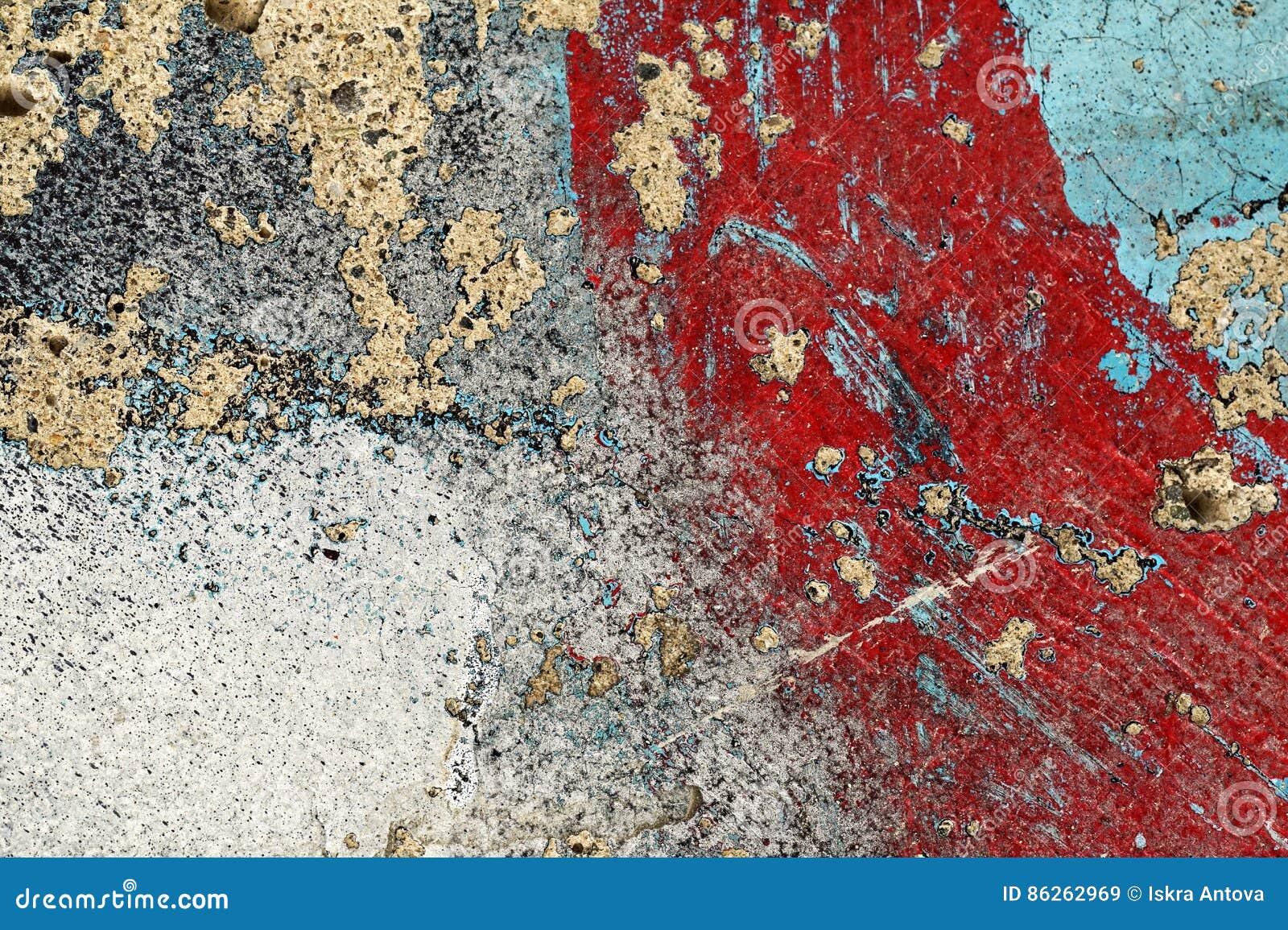 Peinture Grise Rouge épluchée Criquée De Turquoise Sur Le ...