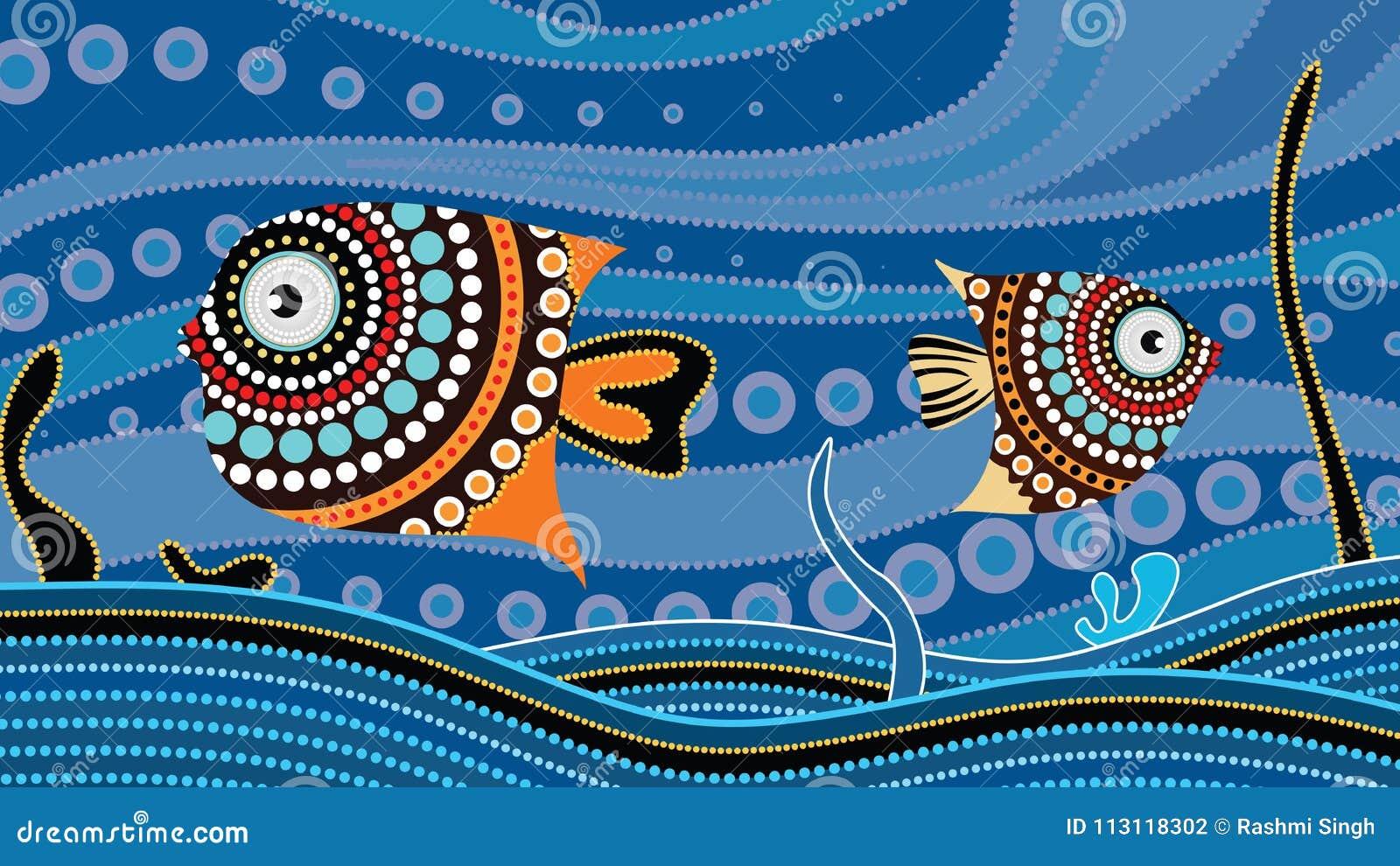 Peindre Papier Peint Motif peinture indigène d'art de point avec des poissons concept