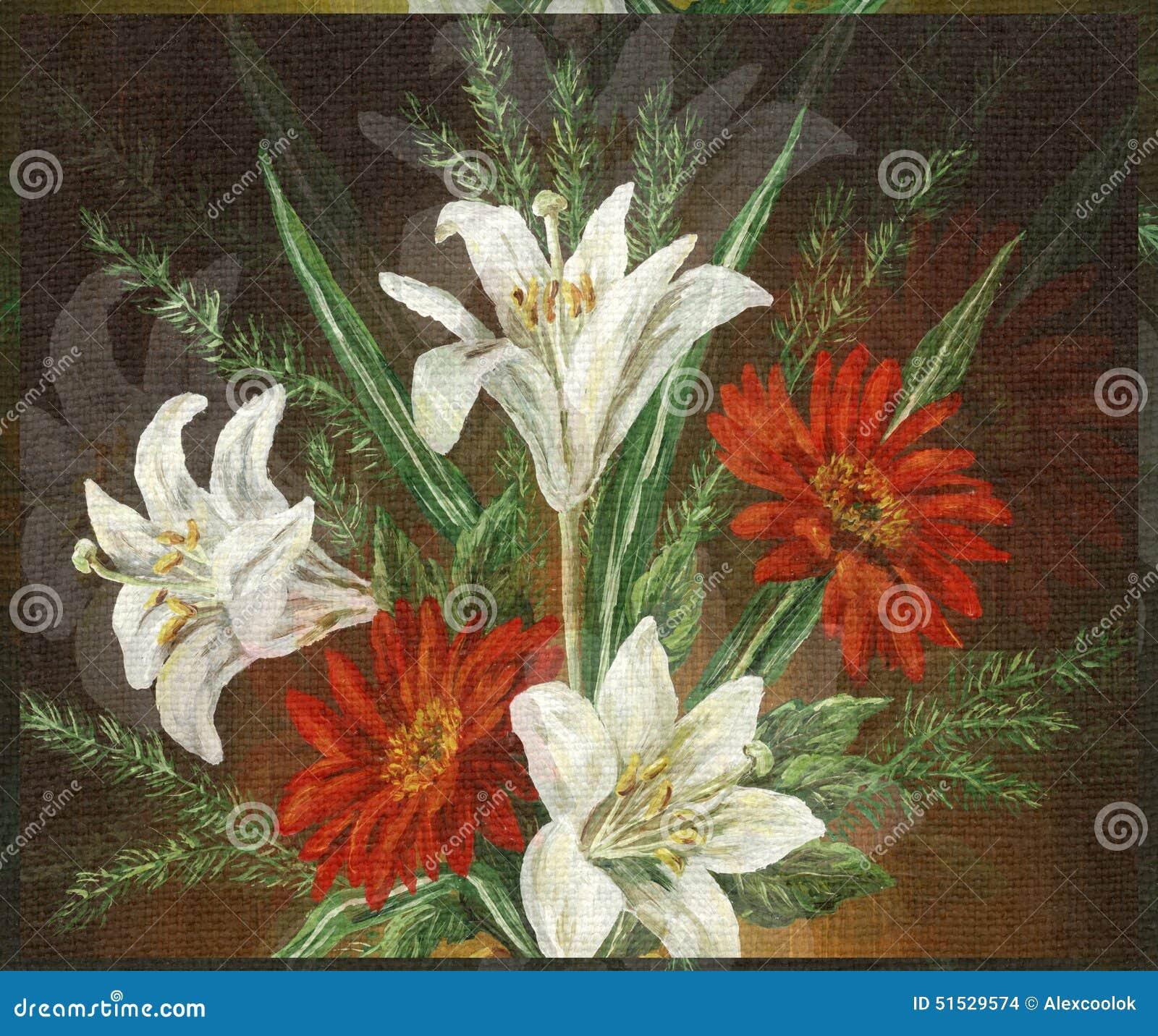 Peinture l 39 huile de photo fleurs de bouquet illustration stock image - Peinture a l huile achat ...