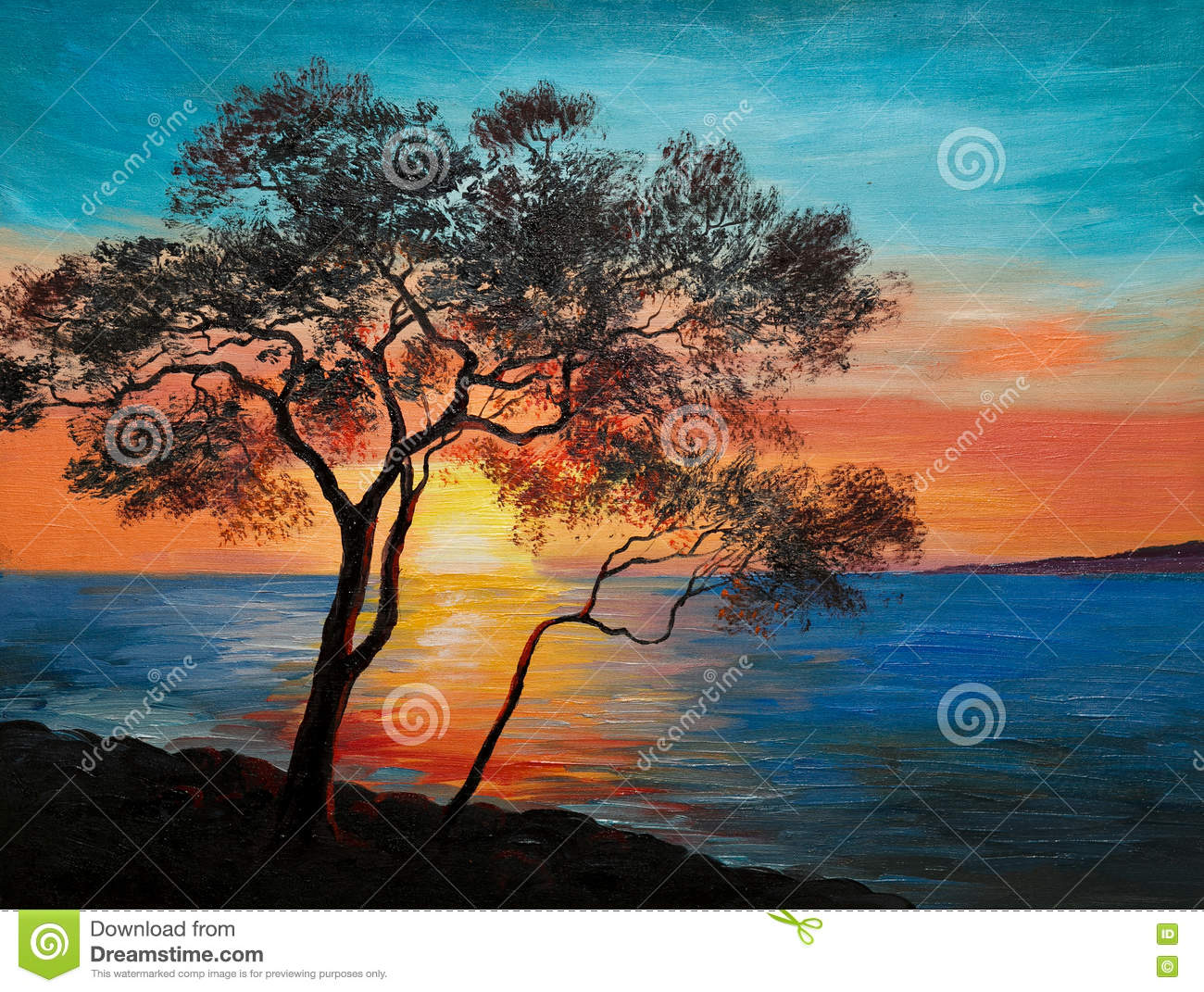 peinture l 39 huile sur la toile arbre pr s du lac au coucher du soleil illustration stock. Black Bedroom Furniture Sets. Home Design Ideas