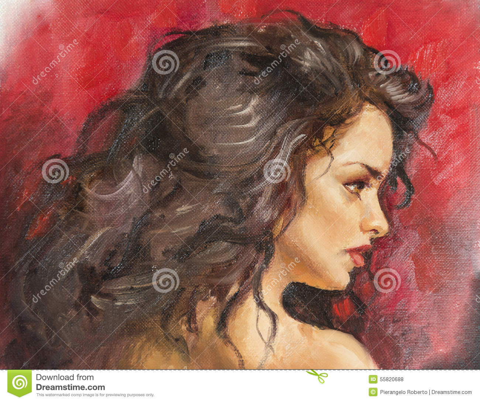 Peinture à L'huile Sur La Toile D'une Jeune Femme Illustration Stock - Image: 55820688