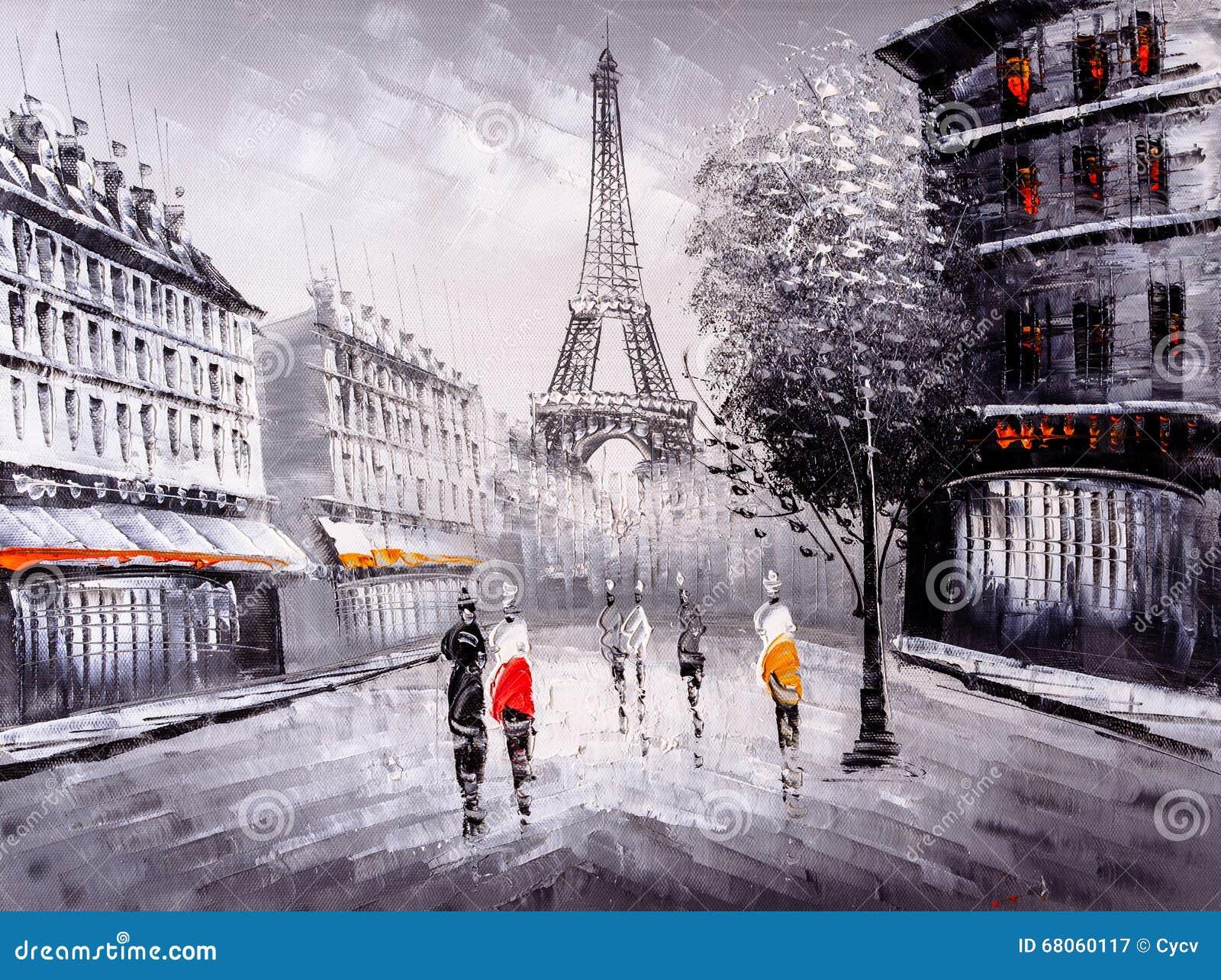 peinture l 39 huile vue de rue de paris illustration stock image 68060117. Black Bedroom Furniture Sets. Home Design Ideas