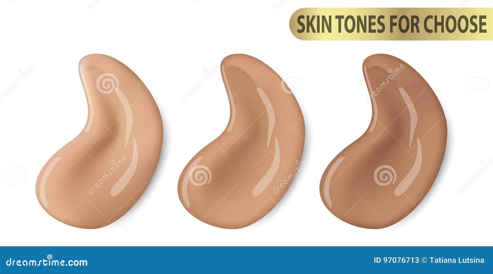 Peinture liquide cosmétique de crayon correcteur de maquillage de base le promo de ton du vecteur 3d pour la couleur de la peau d