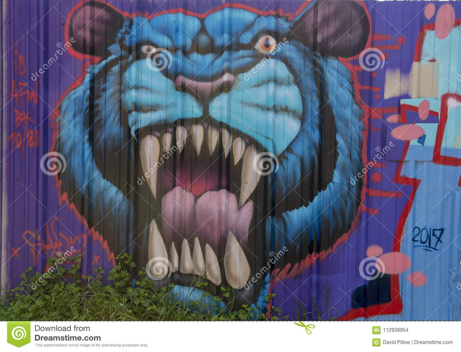 8ec5f482a13fd Peinture Murale Bleue De Tigre Par Theo Ponchaveli, Dallas, Le Texas ...