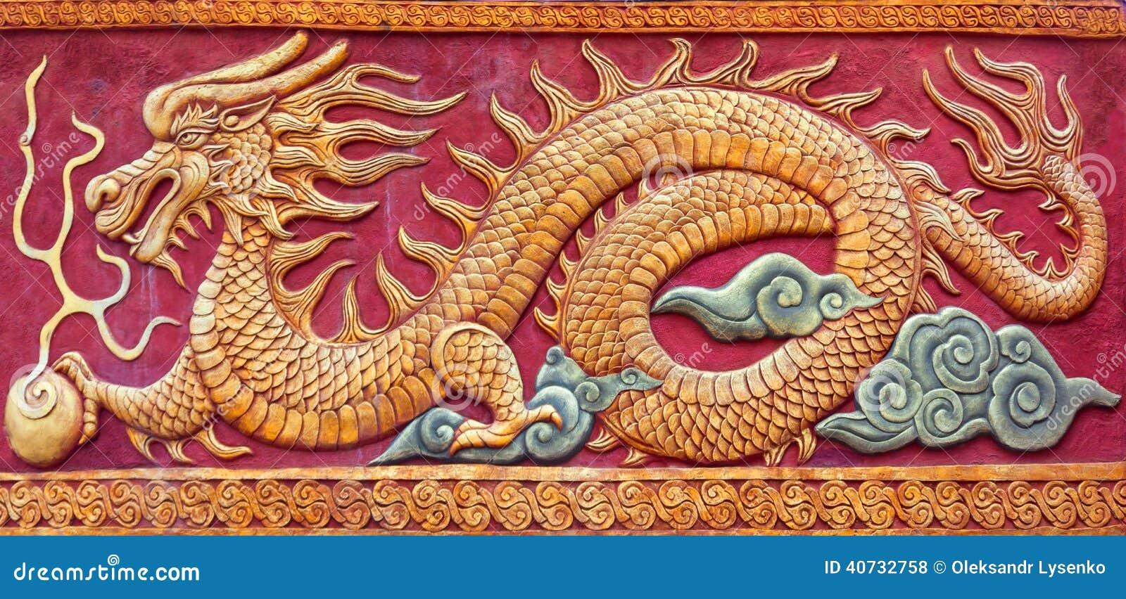 Peinture murale chinoise de dragon photo stock image for Types de peintures murales