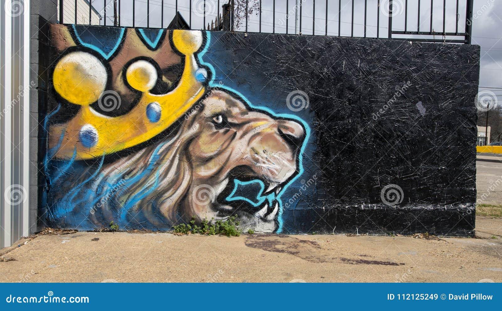 Peinture murale d art de Lion King Wall dans Ellum profond, Dallas, le Texas