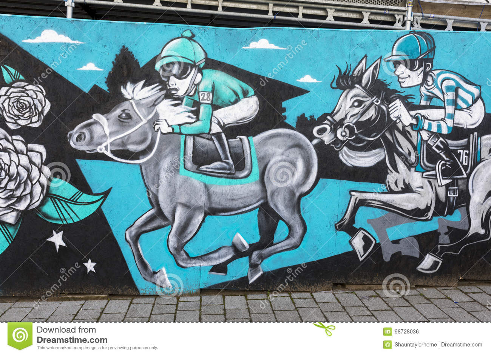 Peinture murale d art de rue de Doncaster, festival de St Leger, course de chevaux, joc