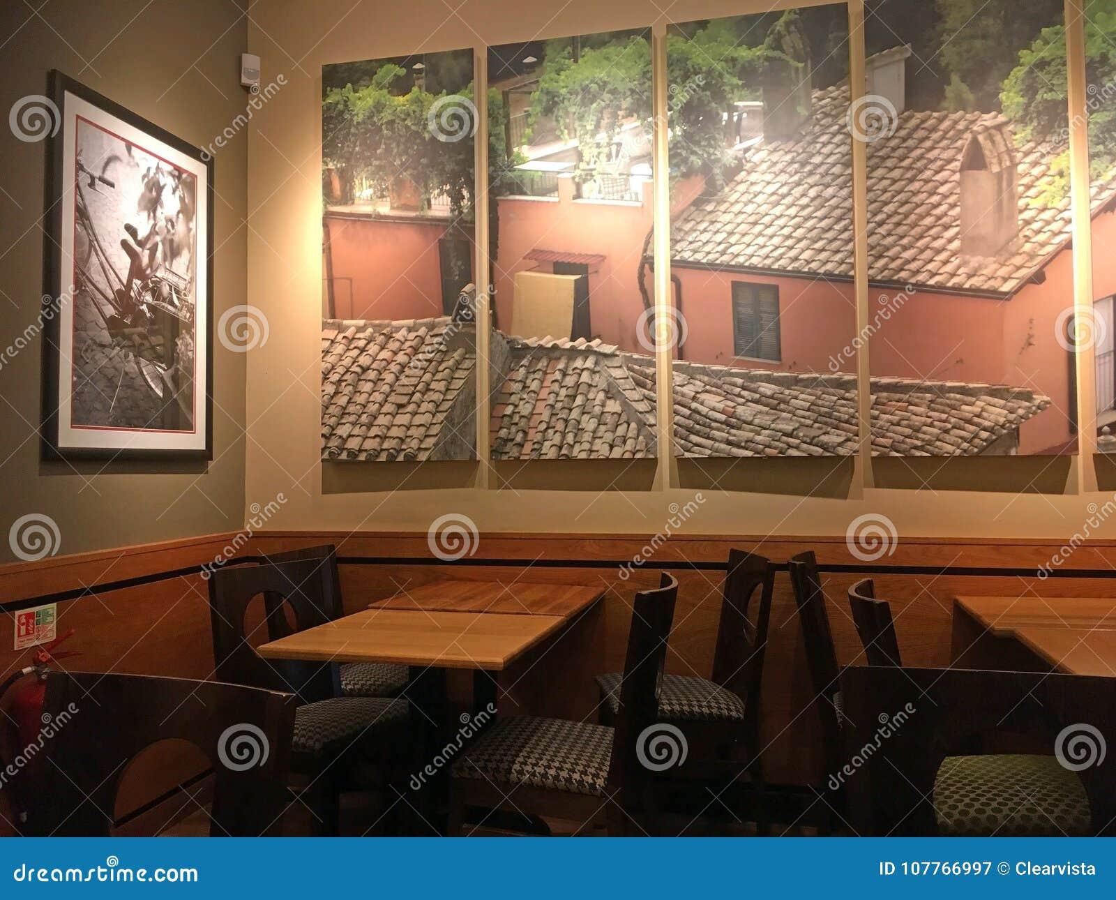 Peinture Murale Dans Un Café Moderne Photographie éditorial - Image ...
