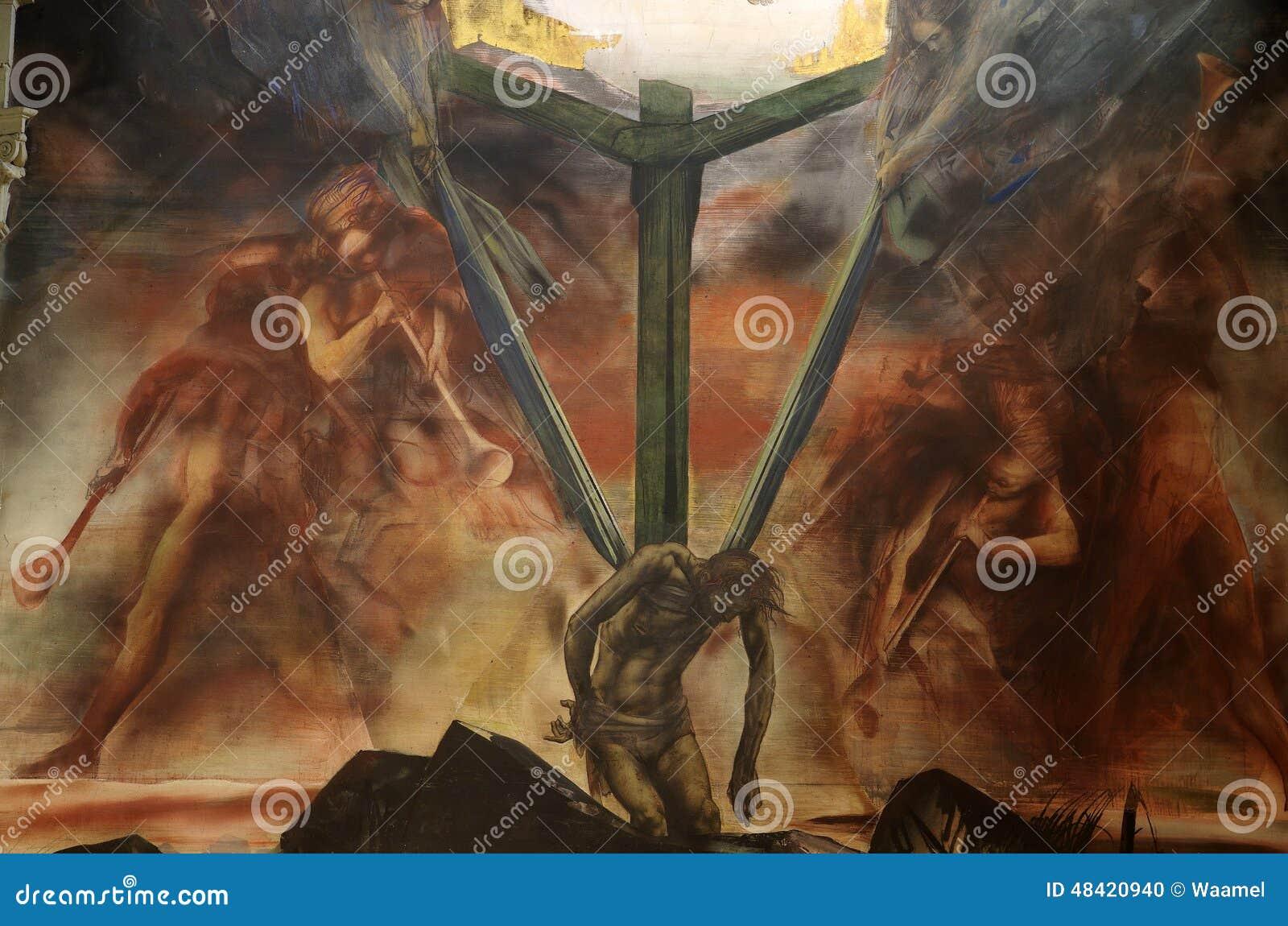 Peinture murale de Jésus sur la croix avec des anges