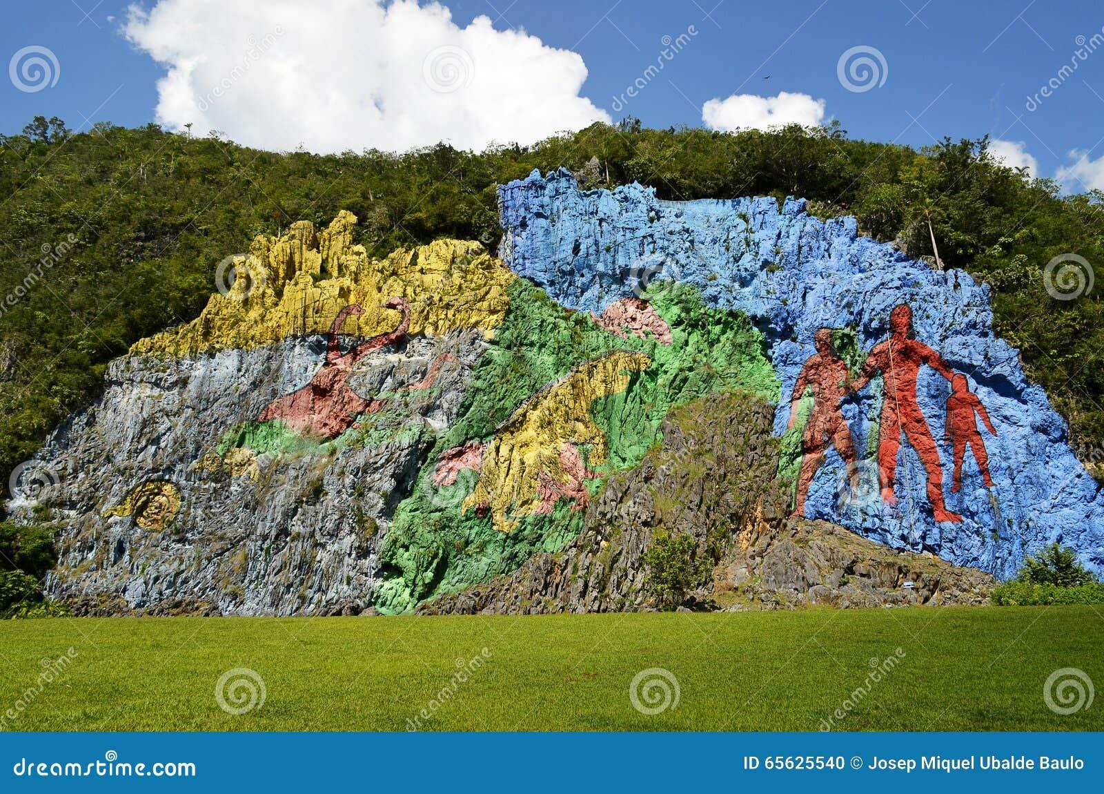 Peinture murale de préhistoire en vallée de Viñales (Pinar del Rio, Cuba)