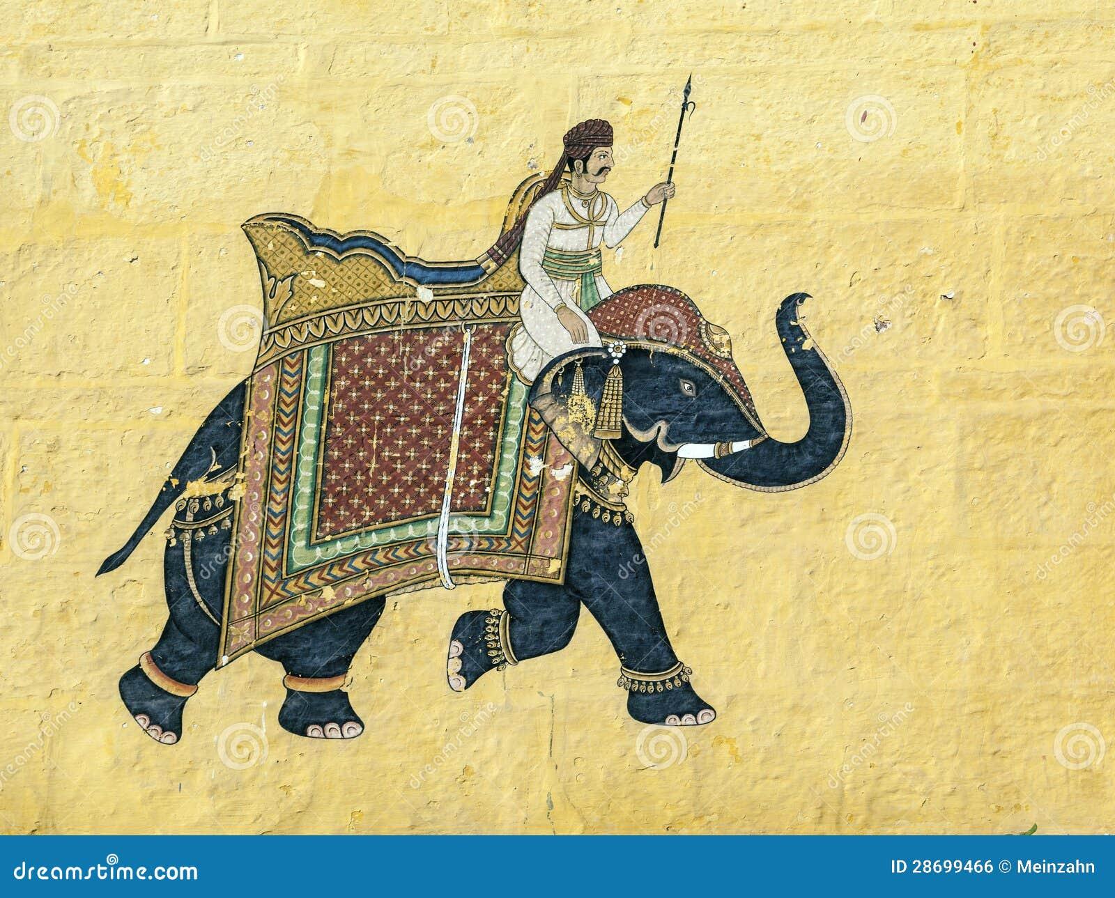 Libre de droits: peinture murale indienne colorée dans le fort de