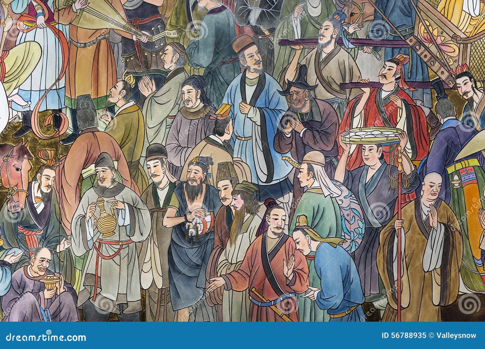 Peinture Murale Moderne Chinoise De Tuile Image éditorial - Image du ...