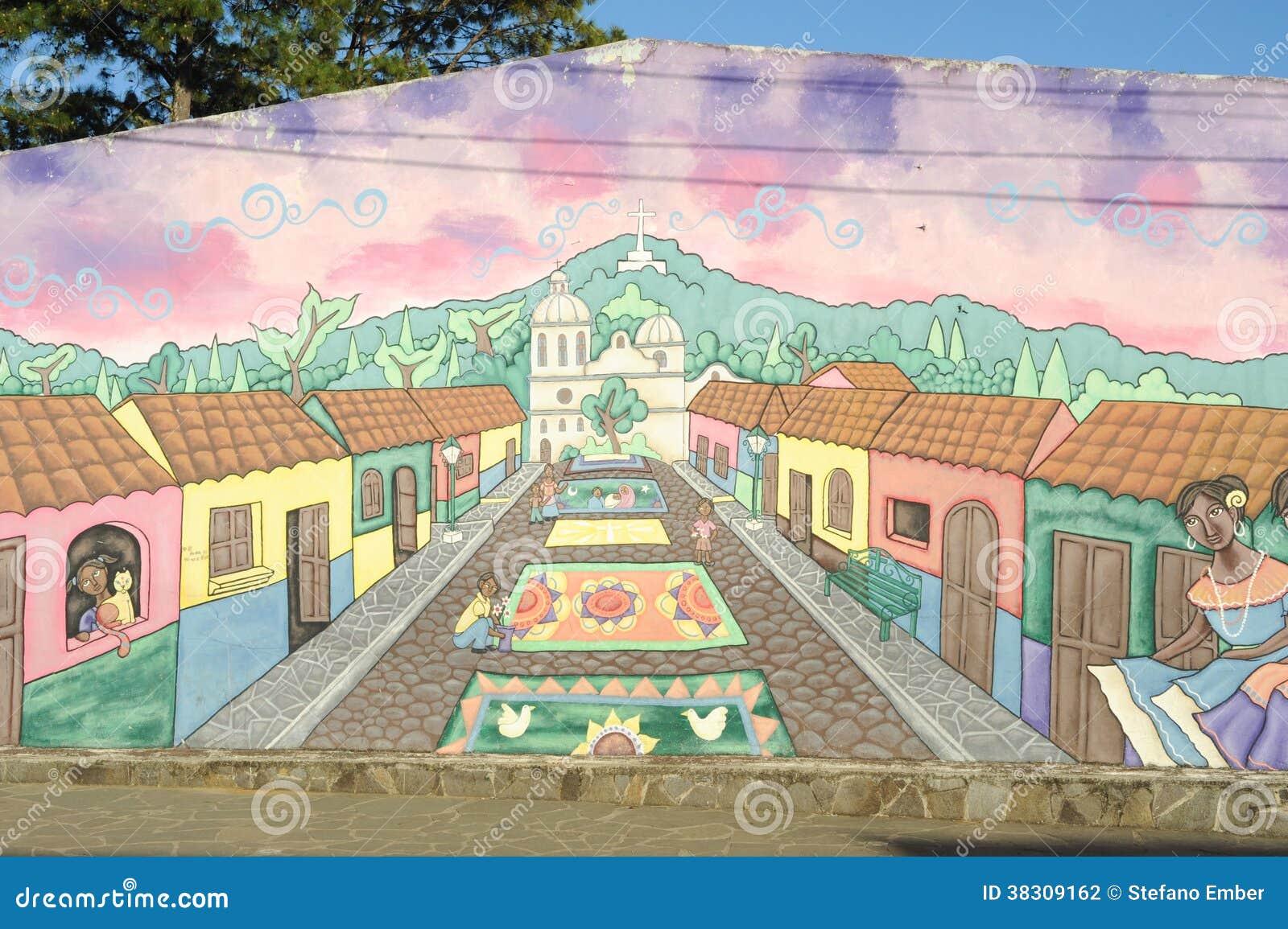 Peinture Murale Sur Une Maison Chez Ataco Au Salvador Photographie
