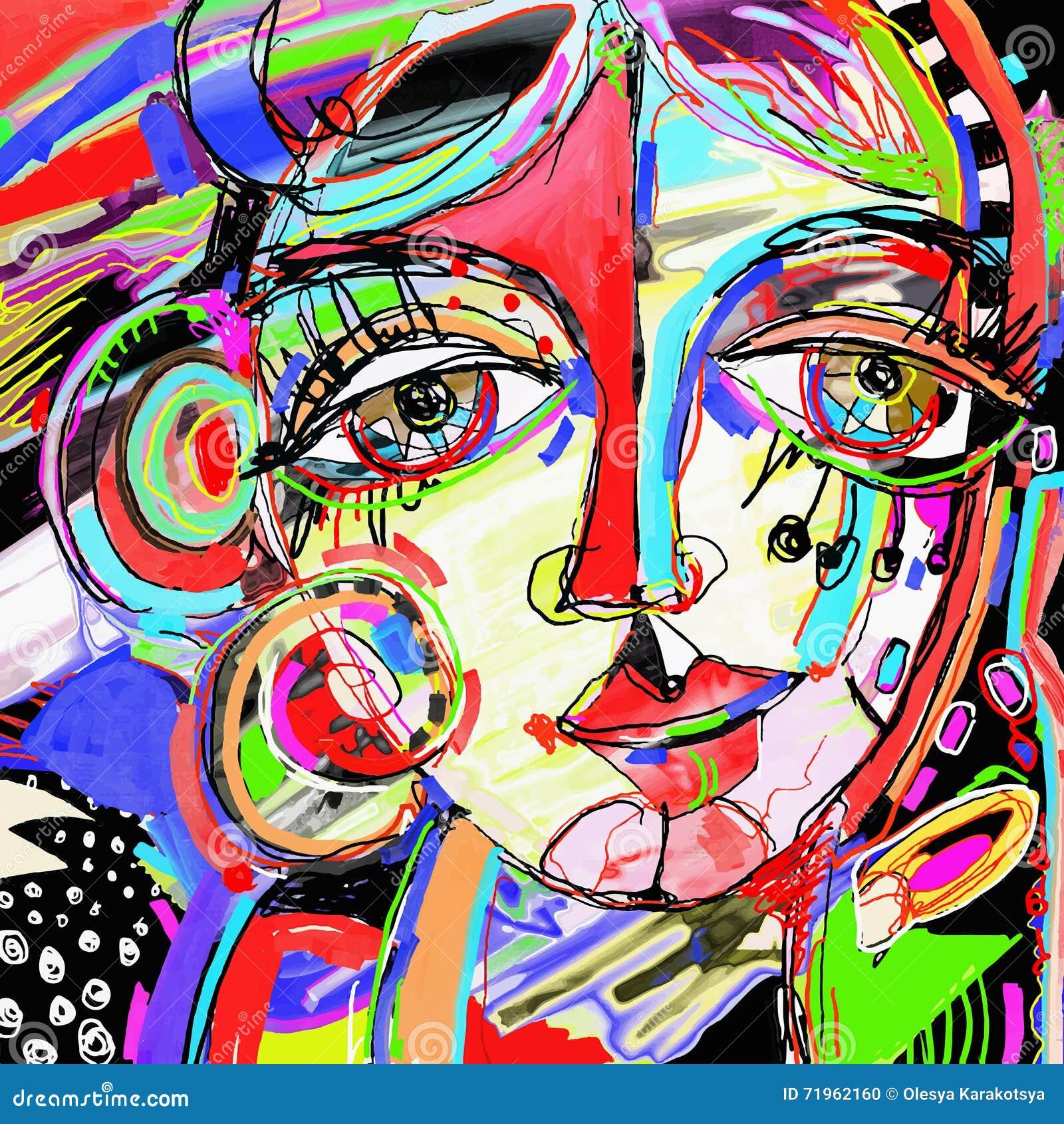 Extrêmement Peinture Numérique Abstraite De Visage Humain Illustration de  XA23