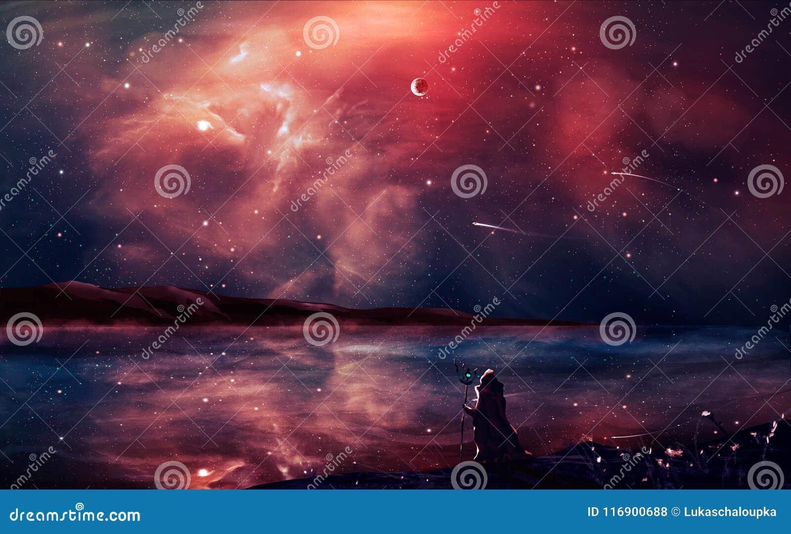 Peinture numérique de paysage de la science fiction avec la nébuleuse, magicien, planète,