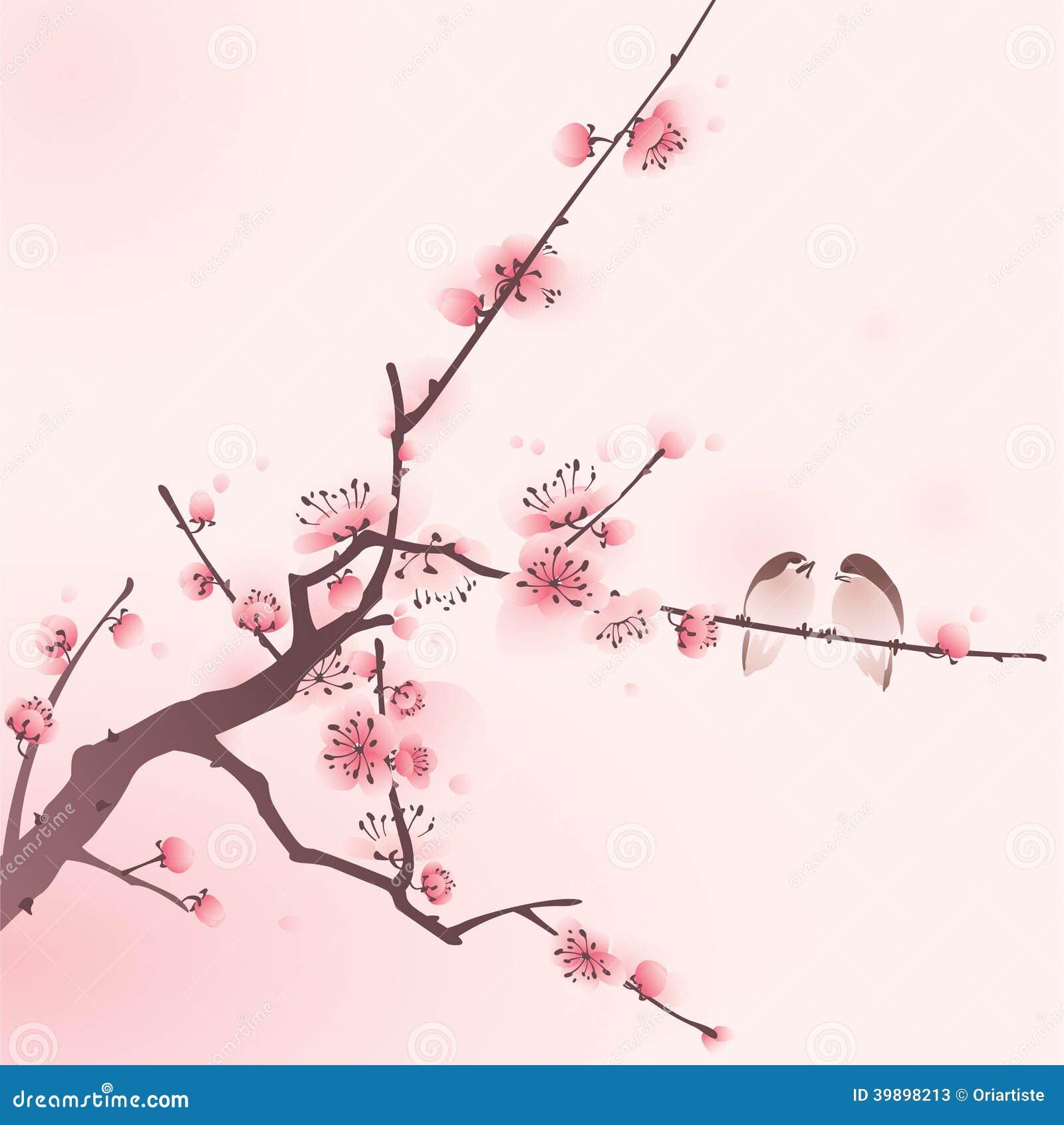 Peinture orientale de style fleurs de cerisier au printemps illustration de vecteur - Greffe du cerisier au printemps ...