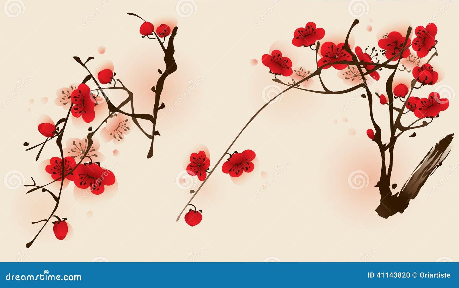 peinture orientale de type fleur de plomb au printemps. Black Bedroom Furniture Sets. Home Design Ideas