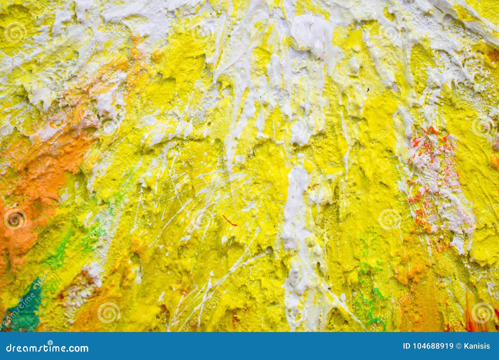 Peinture Pâteuse épaisse Et Couleur Jaune Et Blanche Abstraite Image