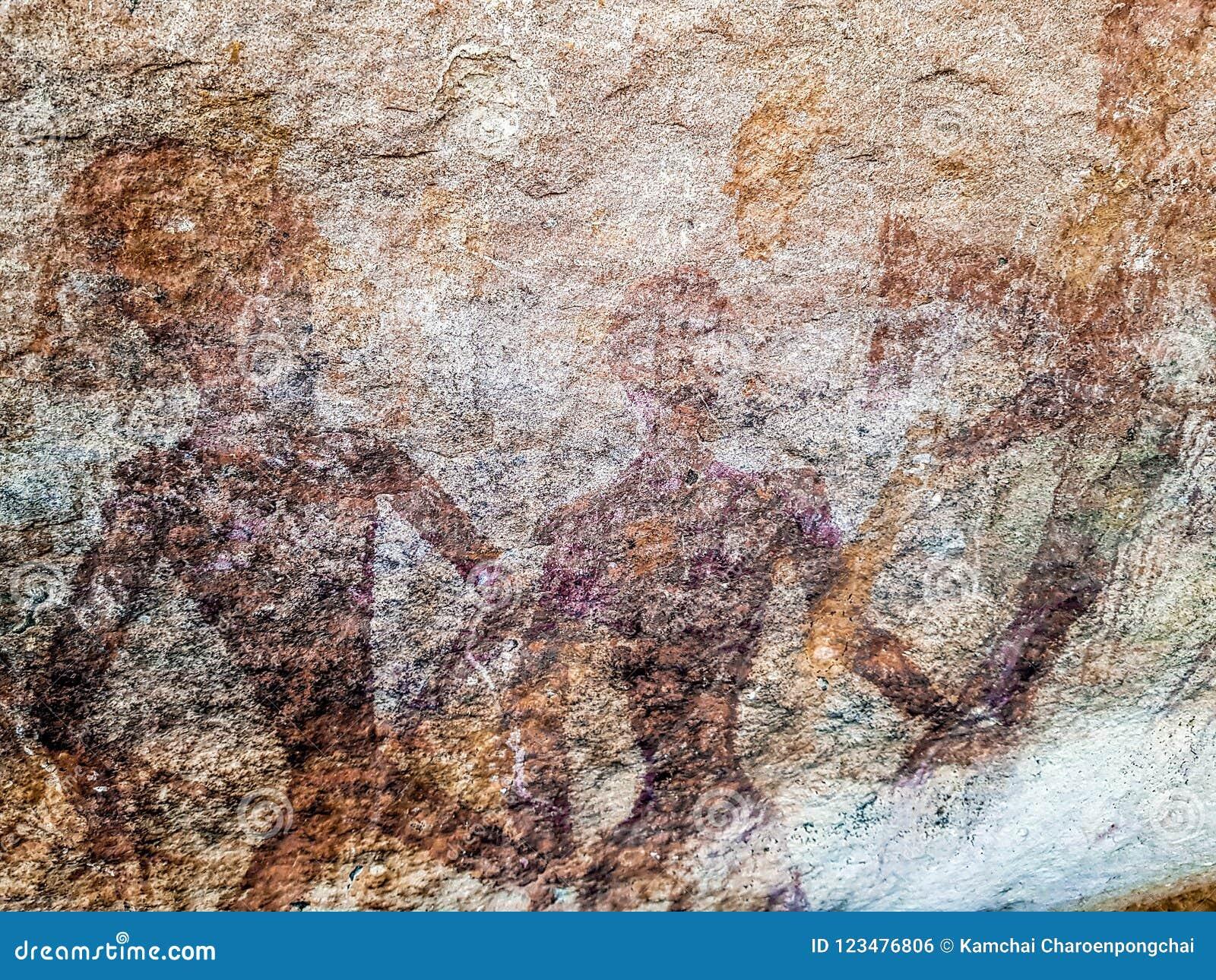 Peinture Préhistorique Des Hommes Dans Les Actions Sur La Roche