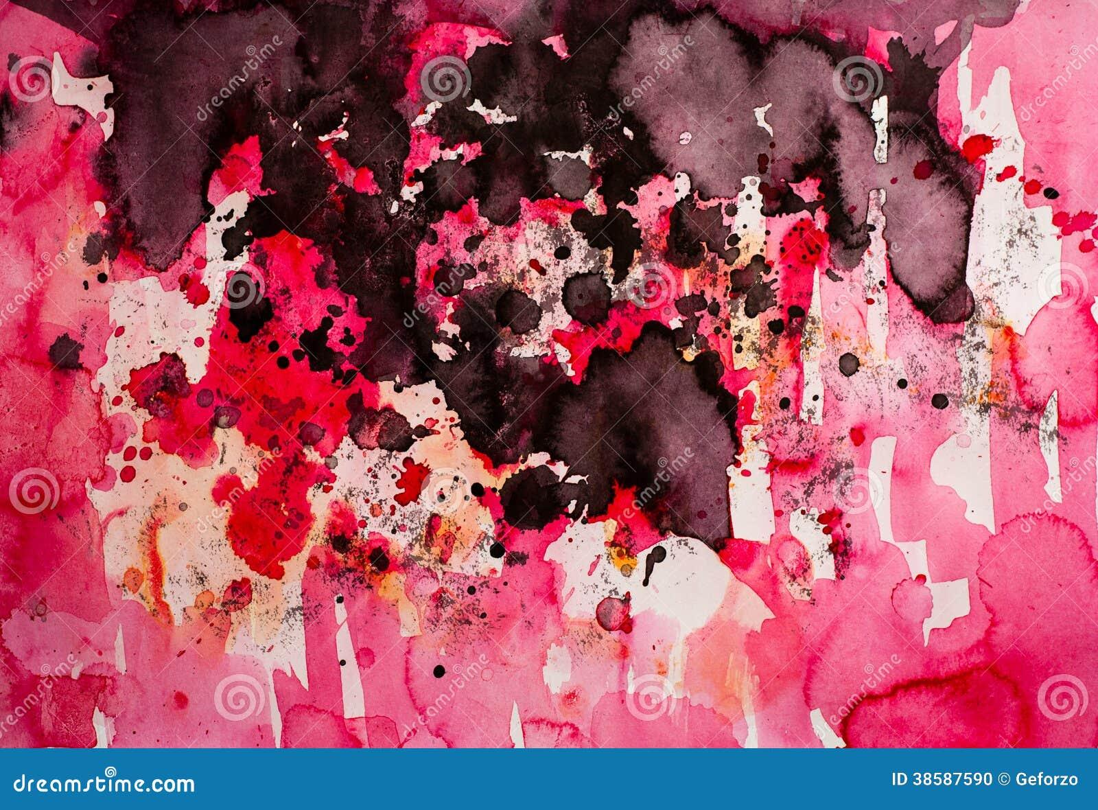 Peinture rouge abstraite d égouttement