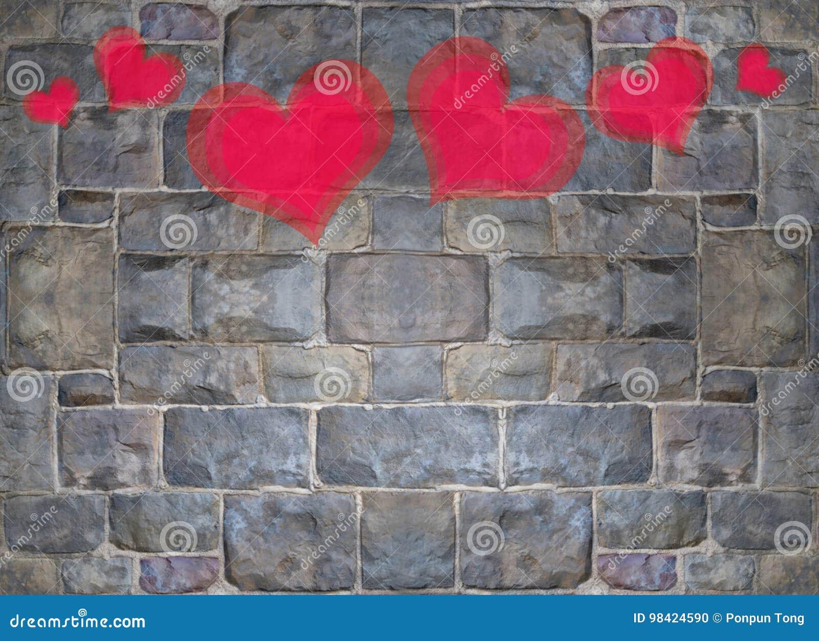 Peinture Rouge Et Rose De Coeur Sur Le Mur De Briques En Pierre Photo stock - Image du rebelle ...