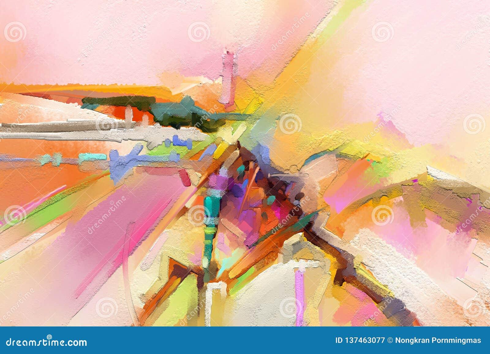 Peintures à L Huile D Art Moderne Avec La Couleur Jaune Et