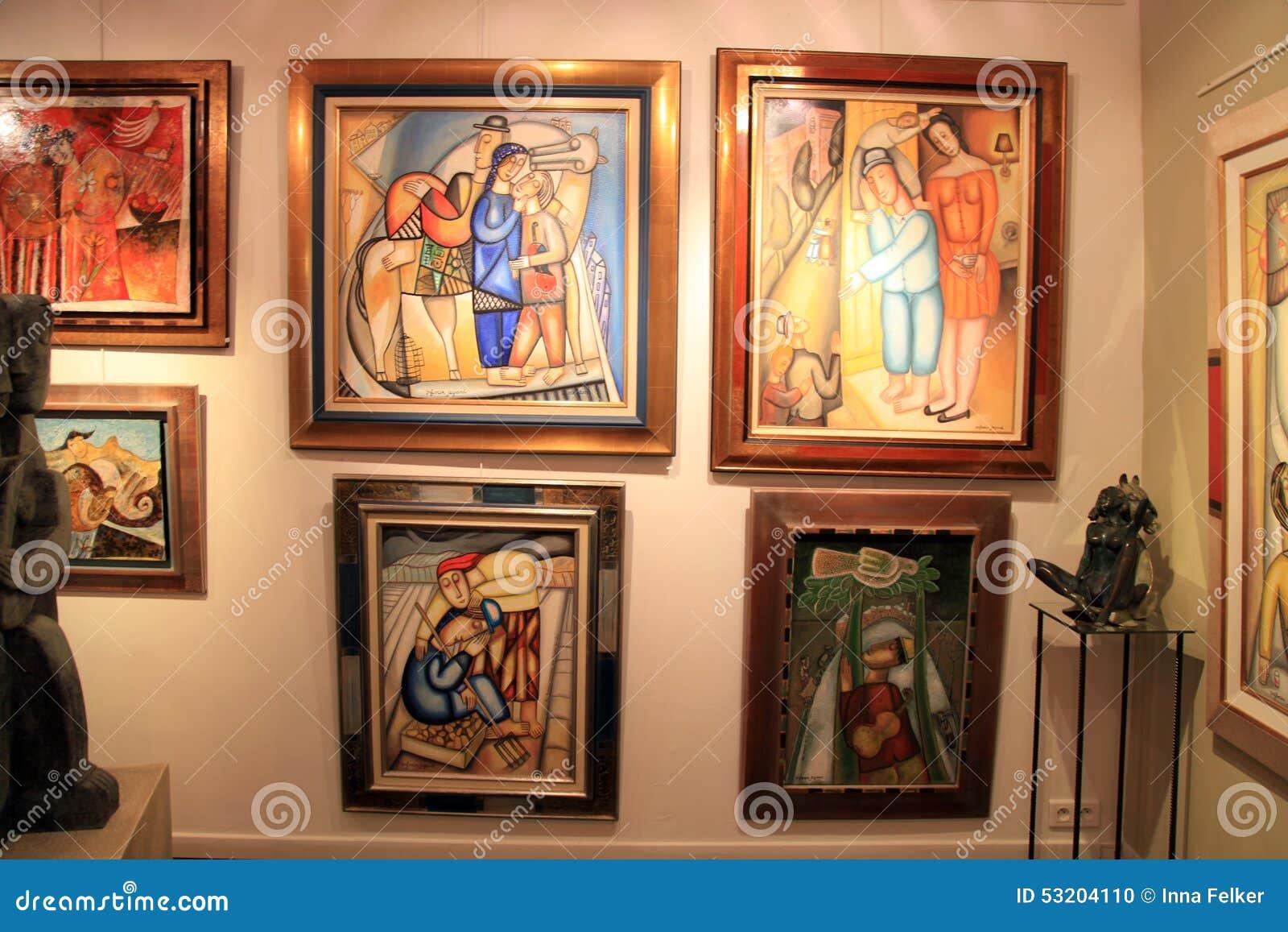 peintures contemporaines chez art gallery dans le saint paul de vence image ditorial image du. Black Bedroom Furniture Sets. Home Design Ideas