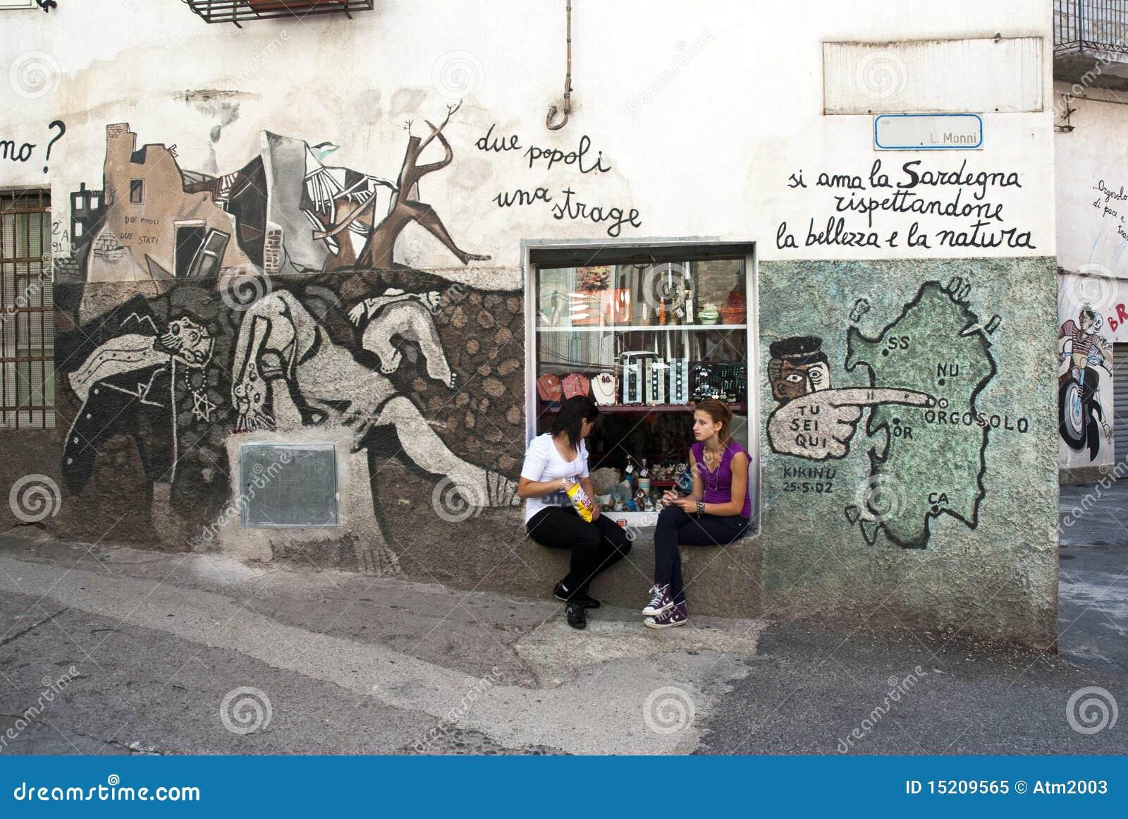 Peintures murales d 39 orgosolo sardaigne image ditorial for Les differents types de peintures murales