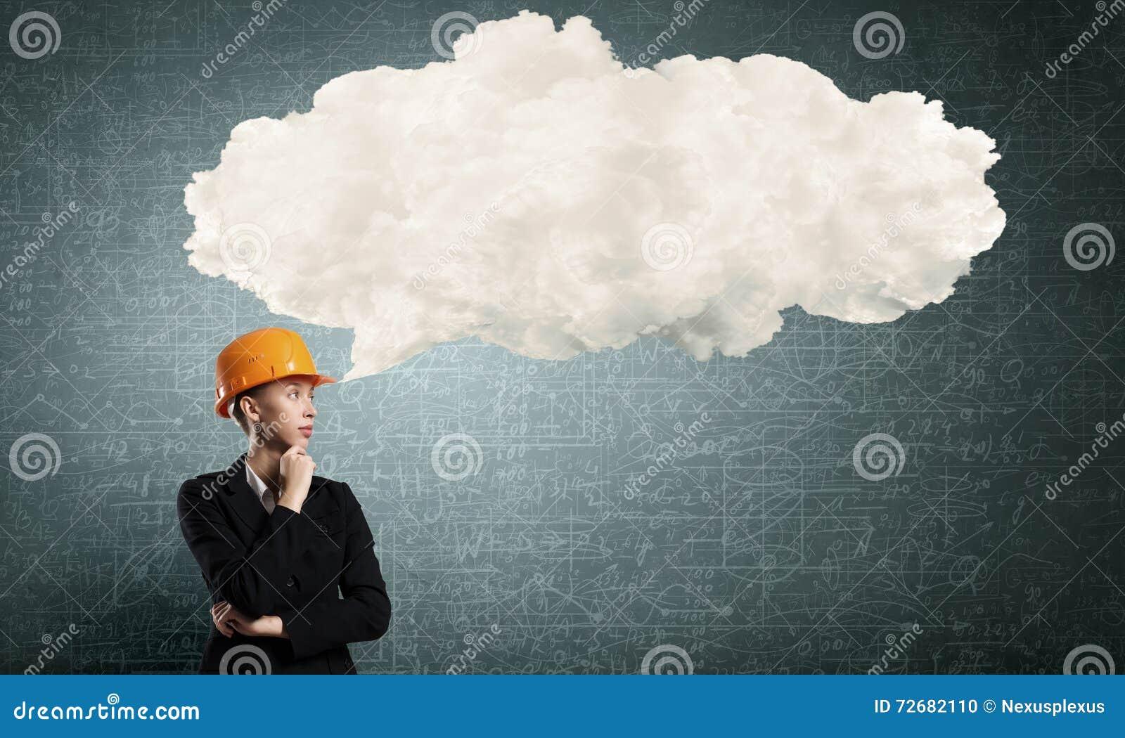 Peinzende bouwersvrouw