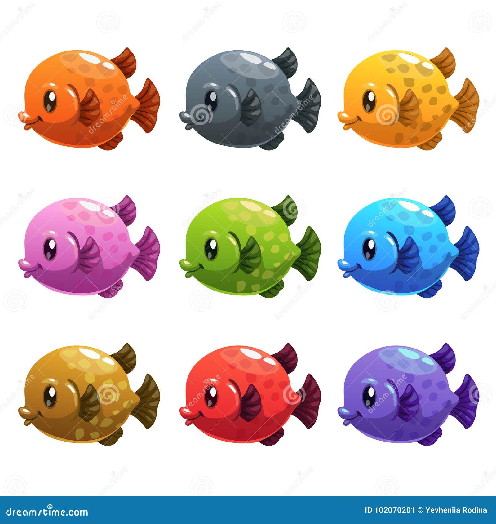 Peixes Coloridos Dos Desenhos Animados Bonitos Ajustados