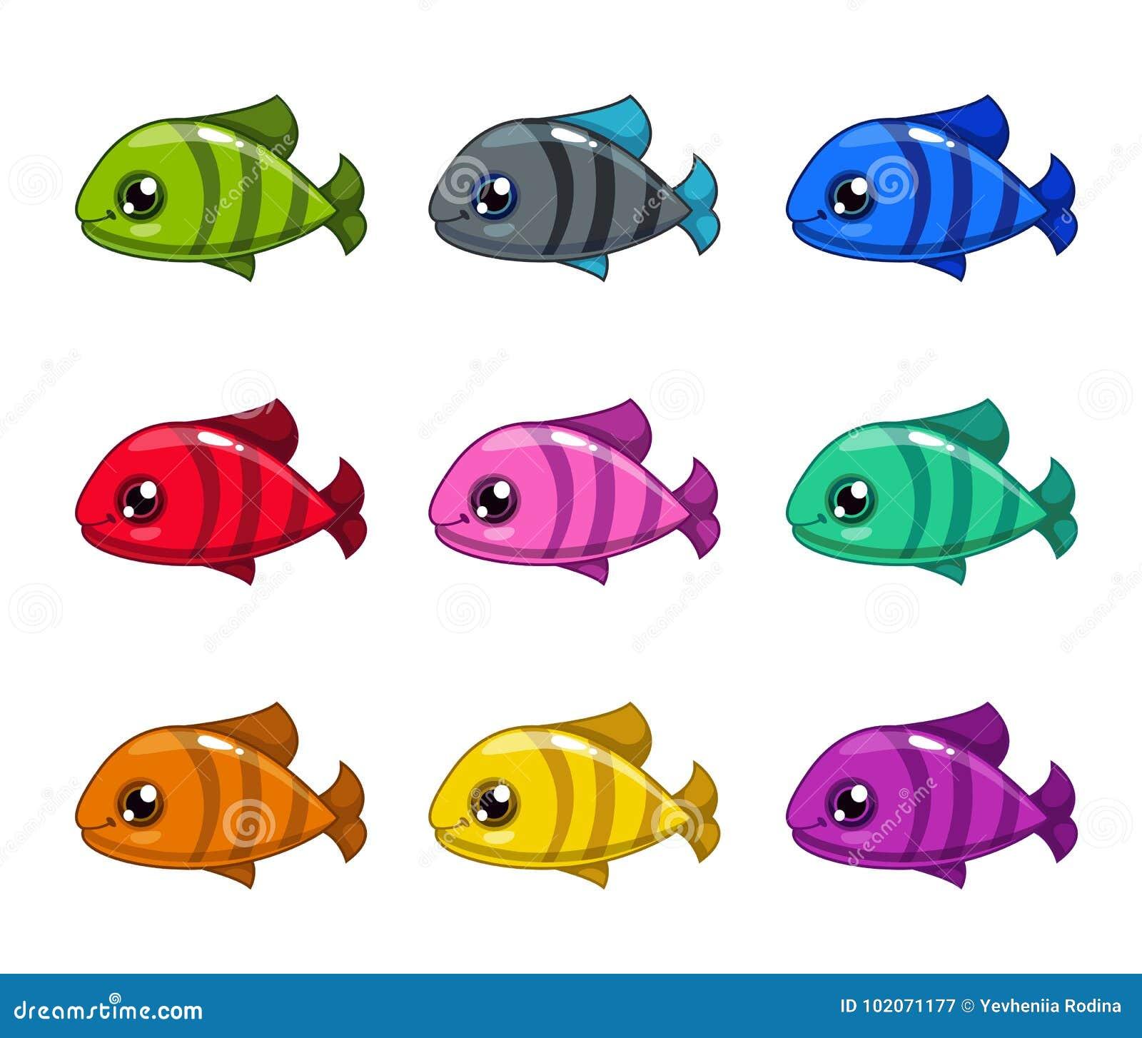 Peixes Coloridos Dos Desenhos Animados Engracados Ajustados