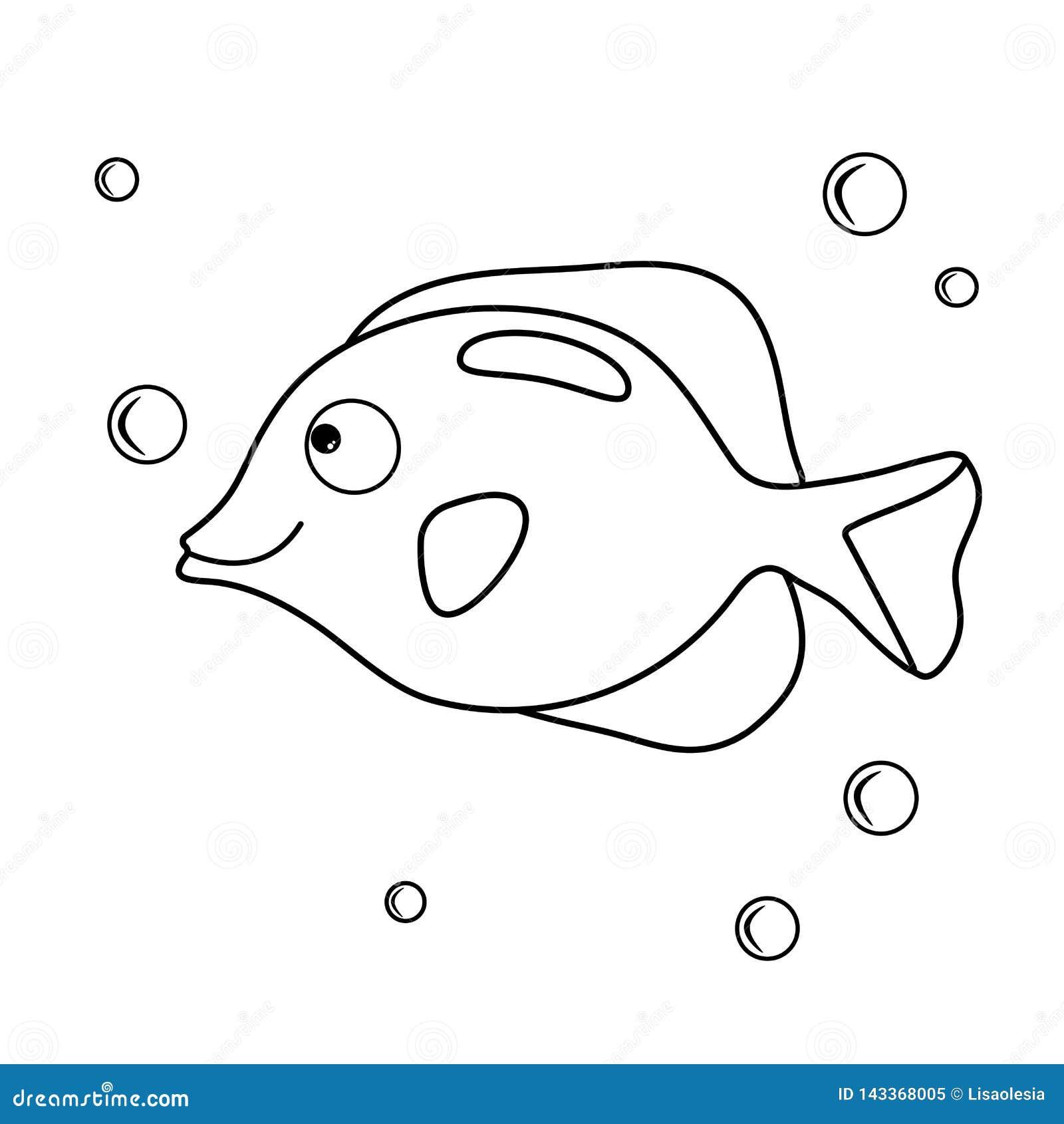 Peixes Do Aqu Rio Dos Desenhos Animados Livro Para Colorir Com Mar