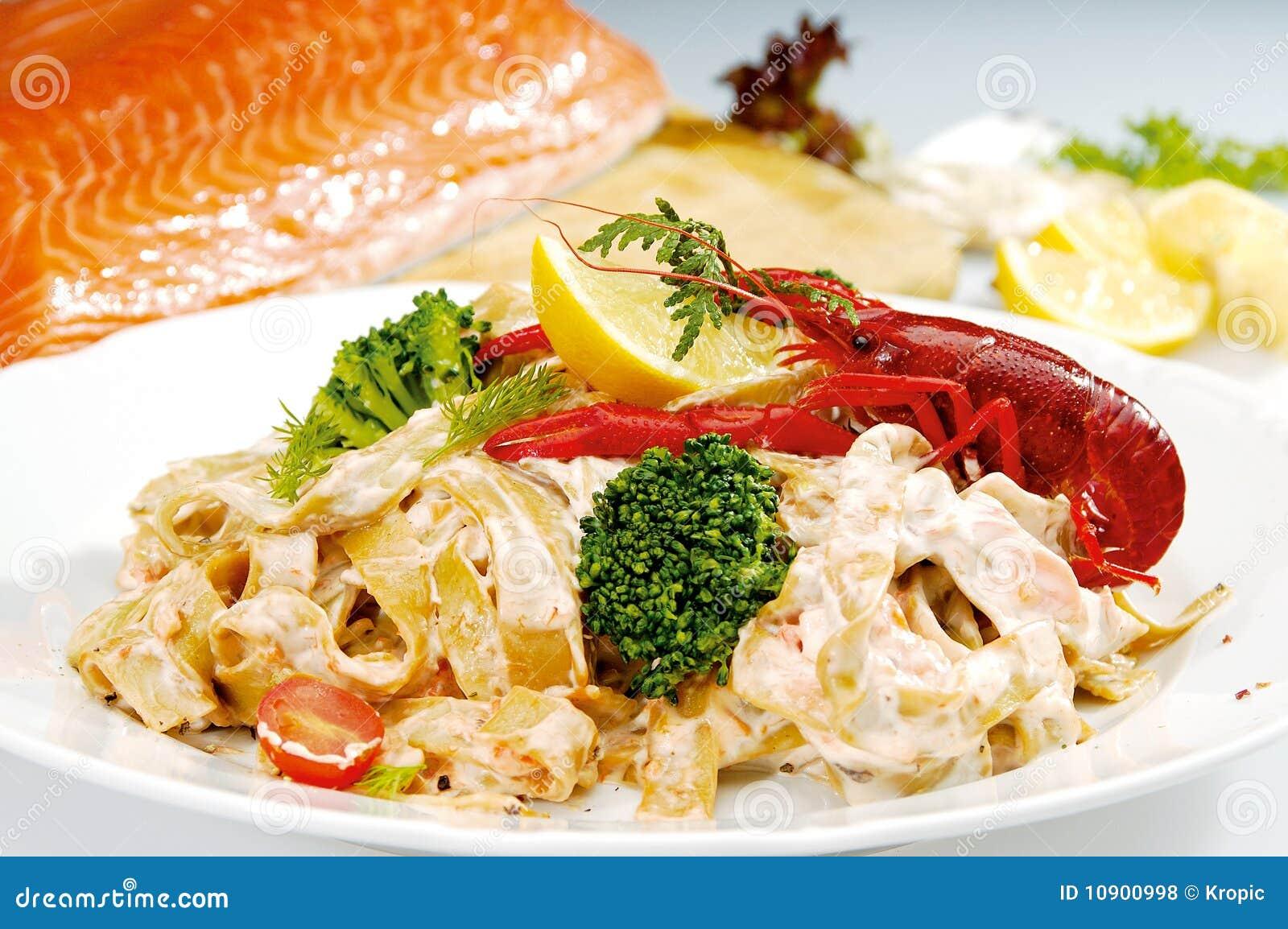 Peixes do papo na parte superior da massa