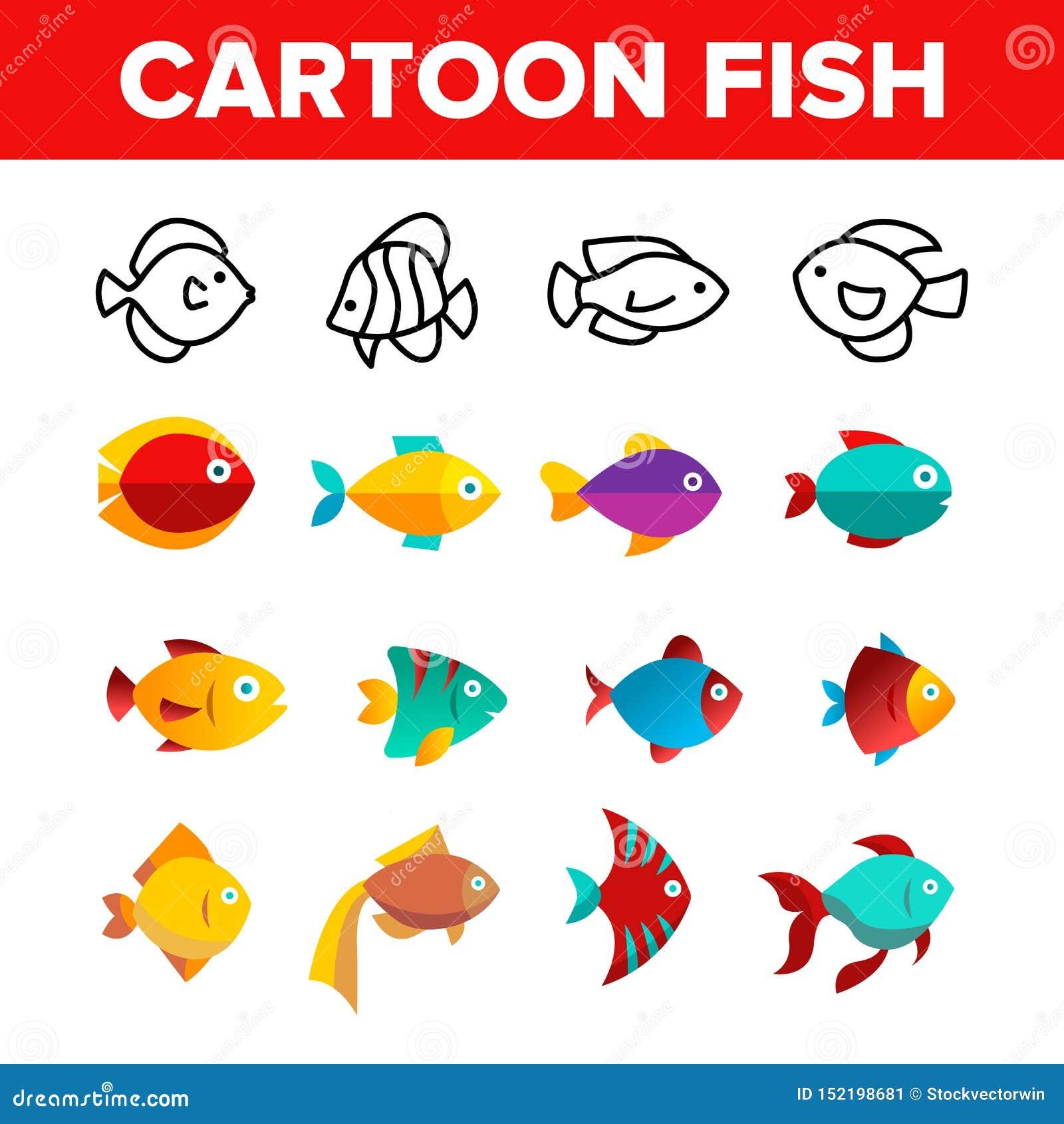 Peixes, linha fina grupo do vetor exótico da espécie dos ícones
