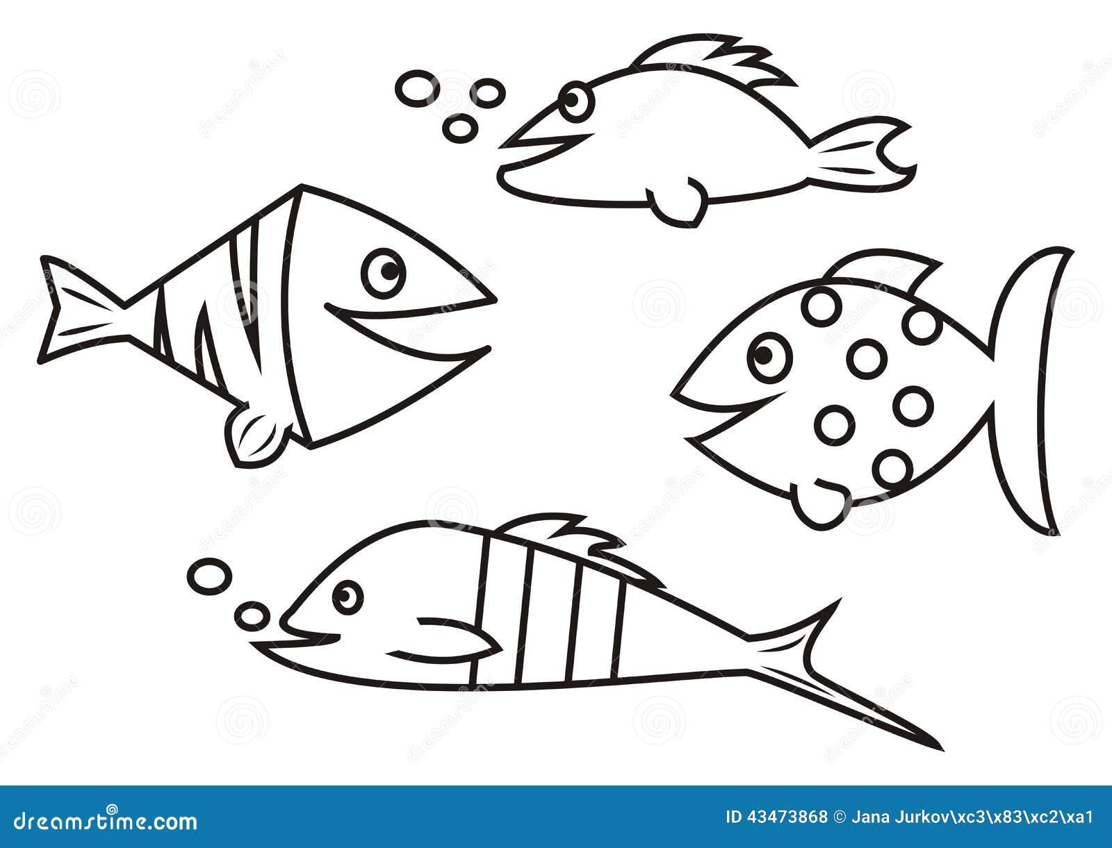 Peixes livro para colorir ilustra o do vetor imagem for Pesciolini da colorare e stampare