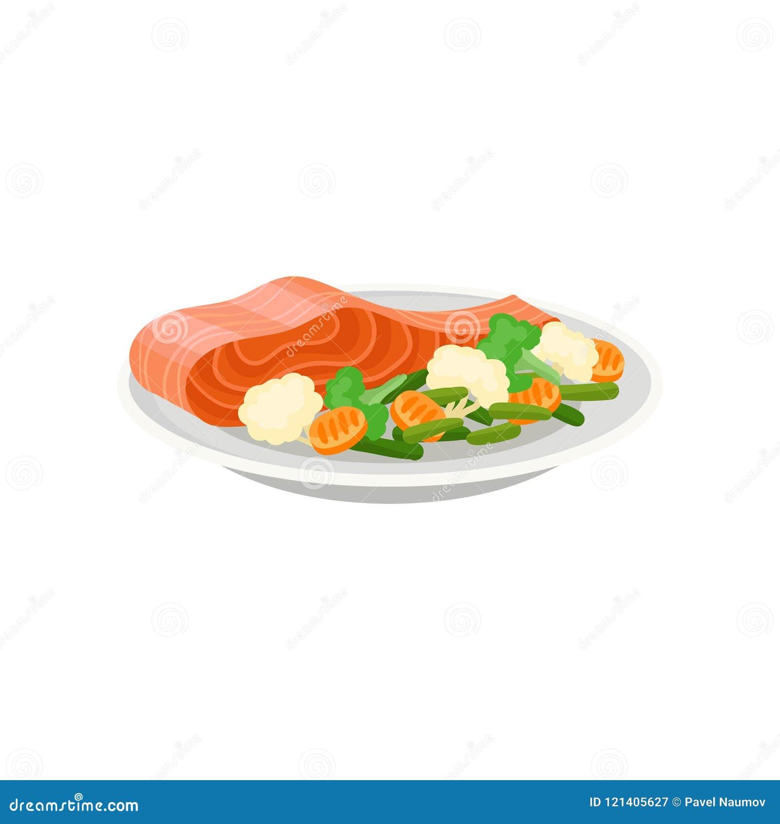 Peixes salmon deliciosos com os legumes frescos na placa cerâmica Refeição saudável Prato saboroso para o jantar Ícone liso do ve