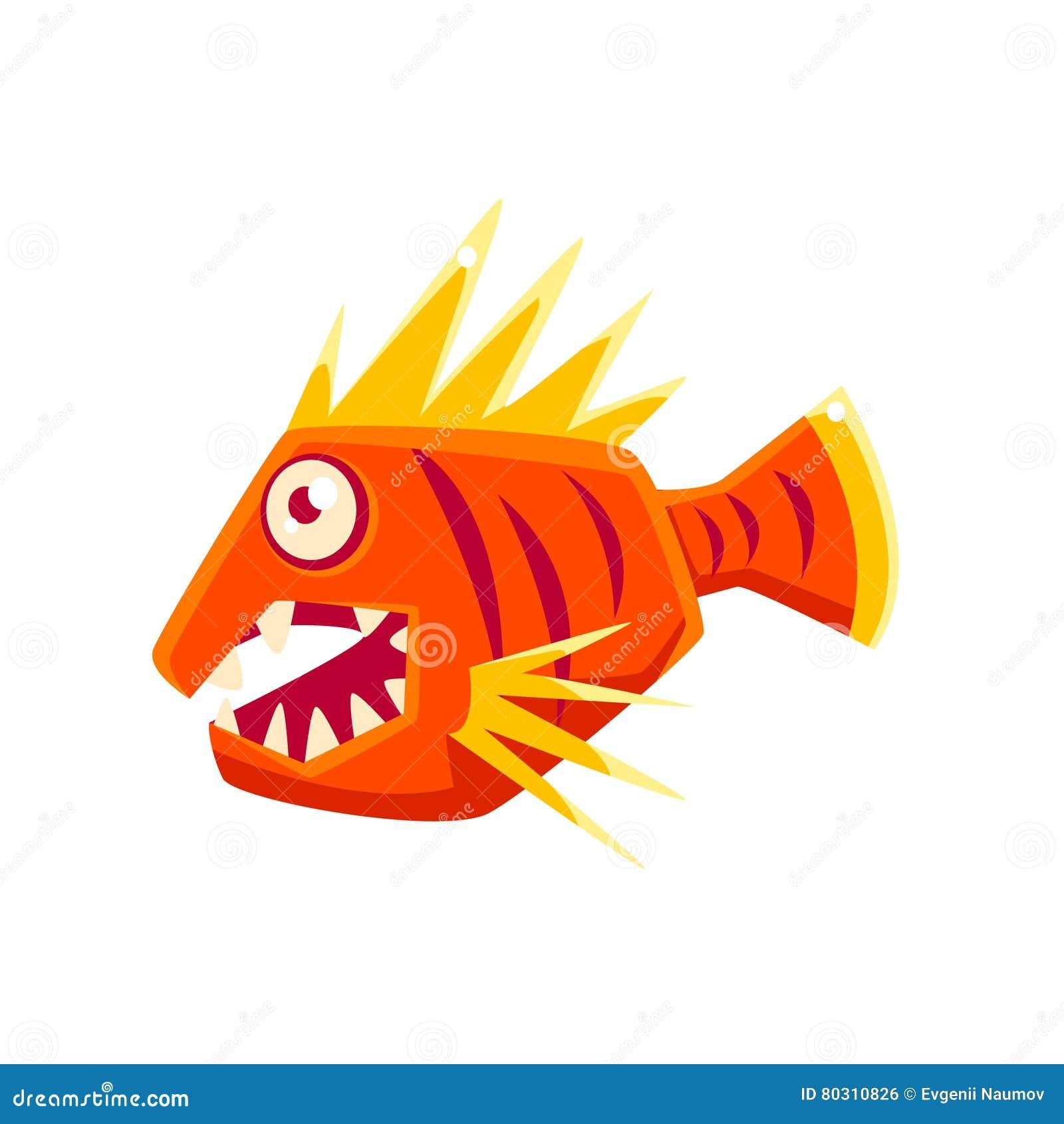 Peixes tropicais do aquário fantástico agressivo vermelho com personagem de banda desenhada pontudo das aletas