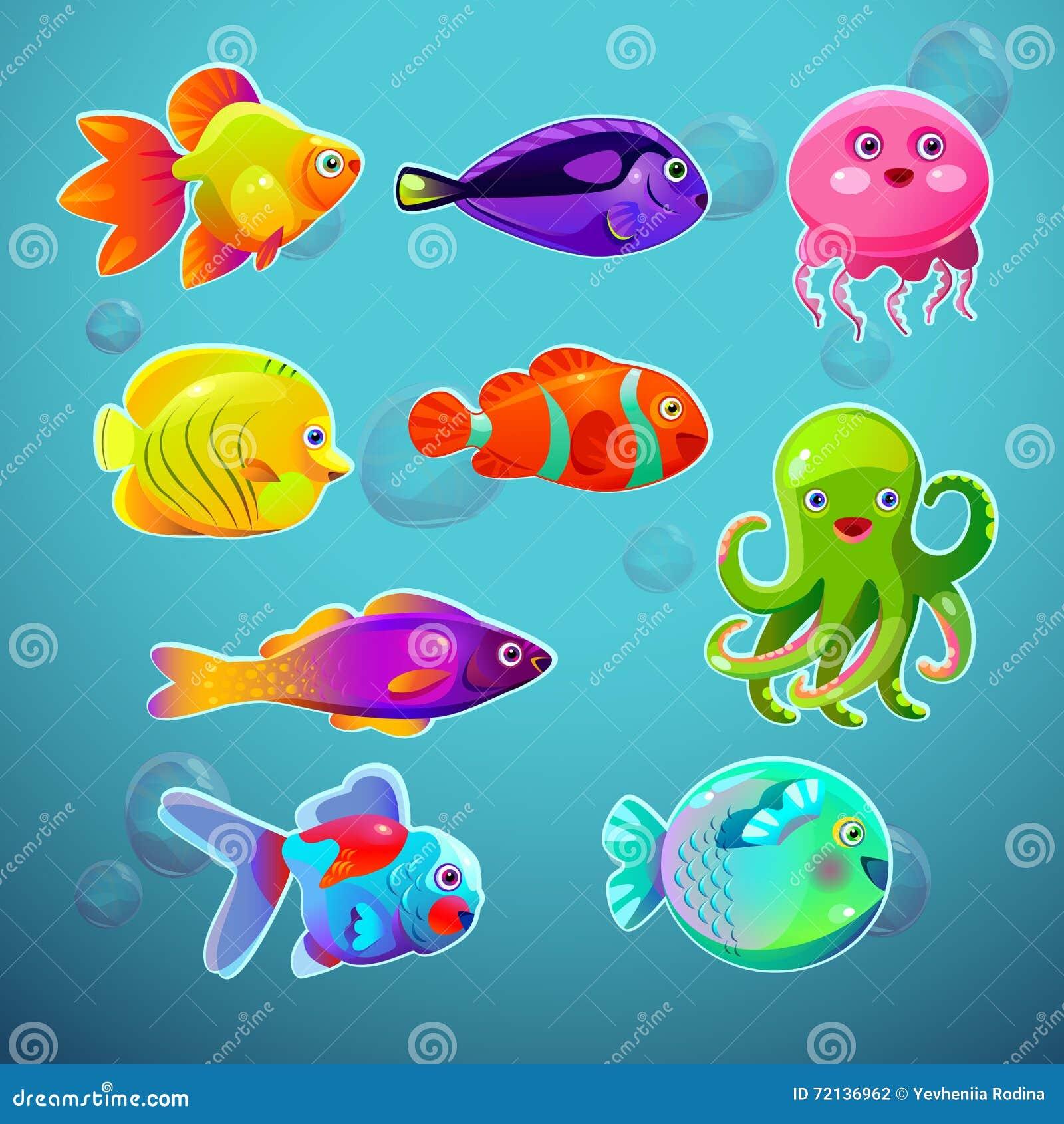 Peixes Tropicos Coloridos Dos Desenhos Animados Engracados