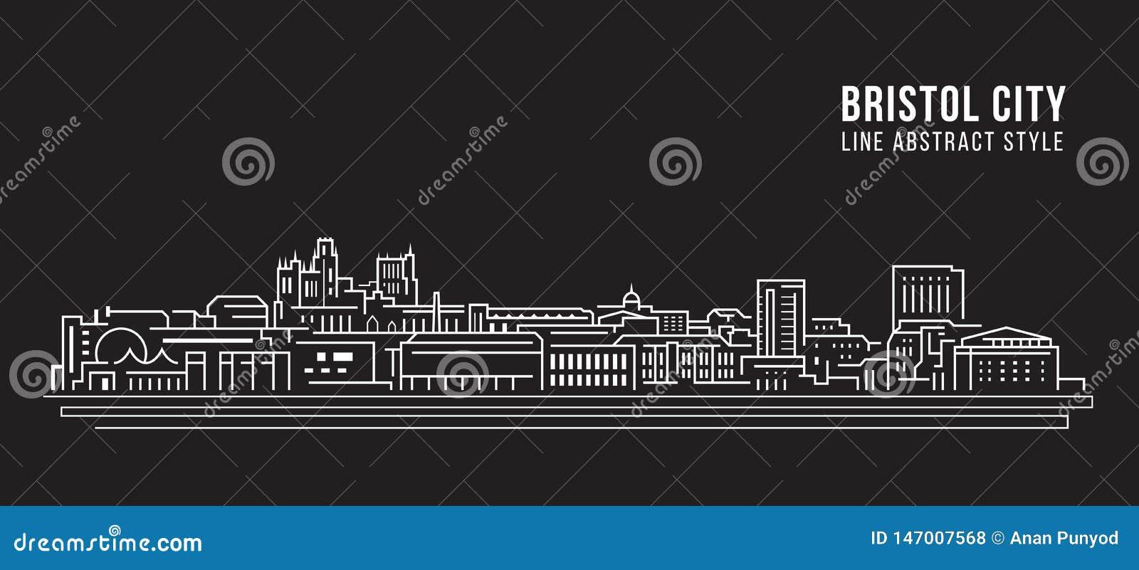 Pejzażu miejskiego budynku Kreskowej sztuki Wektorowy Ilustracyjny projekt - Bristol miasto