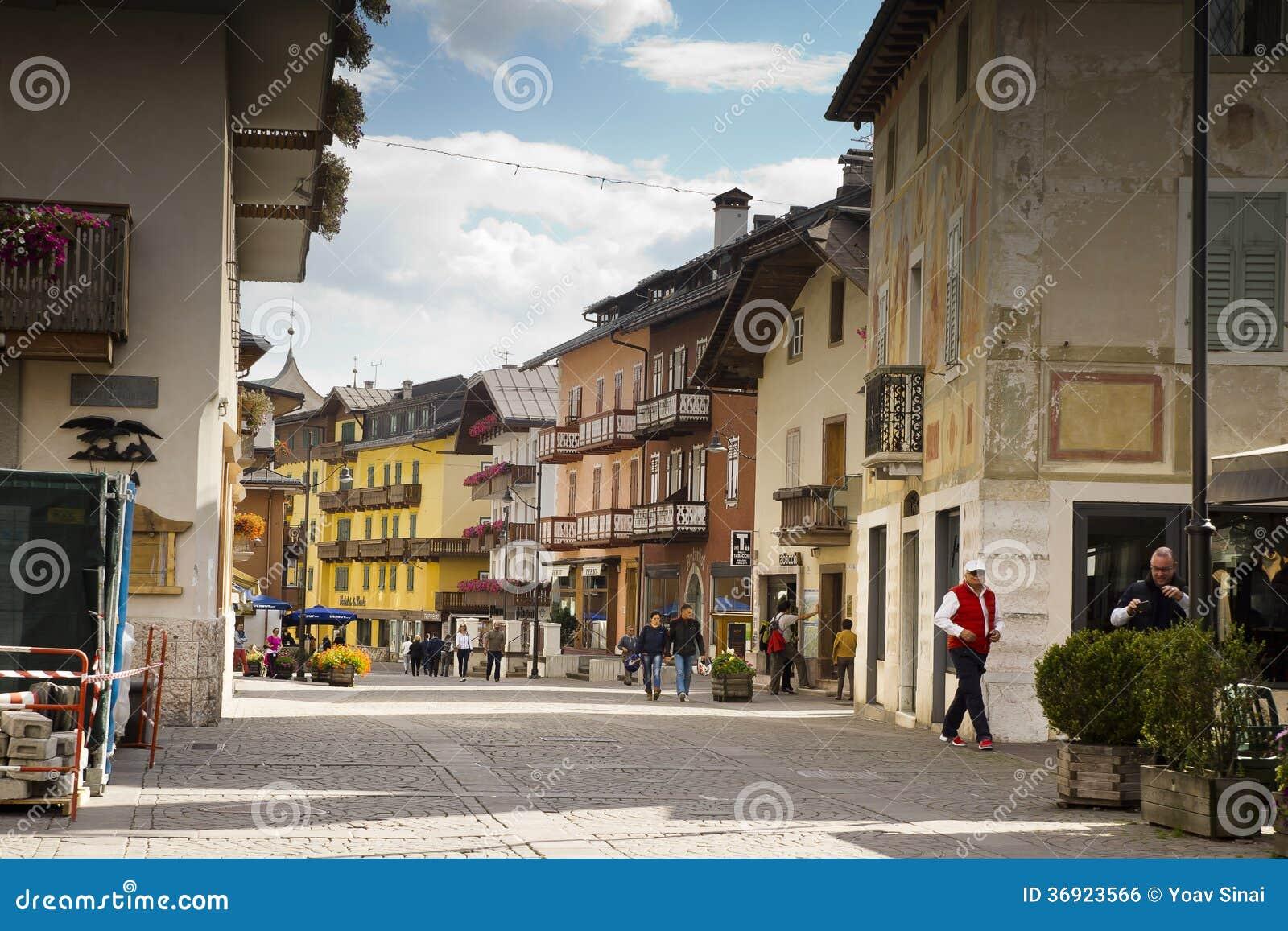 Pejzażu miejskiego Cortina dAmpezzo, Włochy