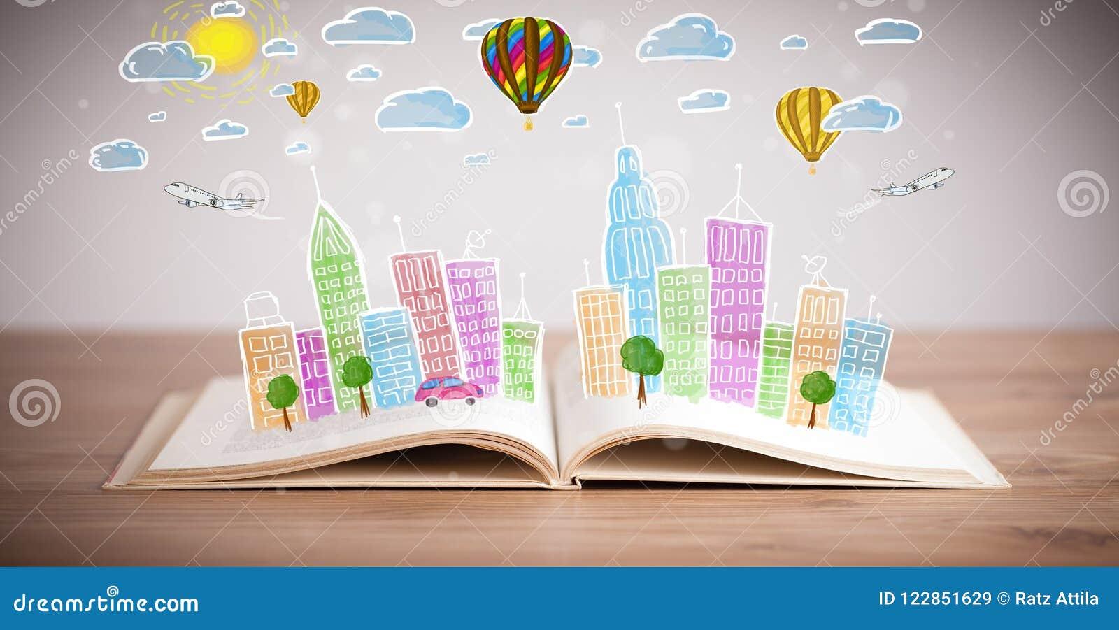 Pejzażu miejskiego rysunek na otwartej książce