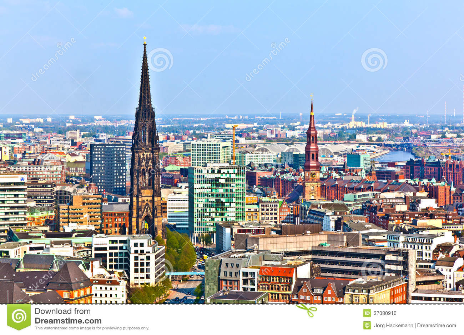 Download Pejzaż miejski Hamburg od zdjęcie stock. Obraz złożonej z biznes - 37080910