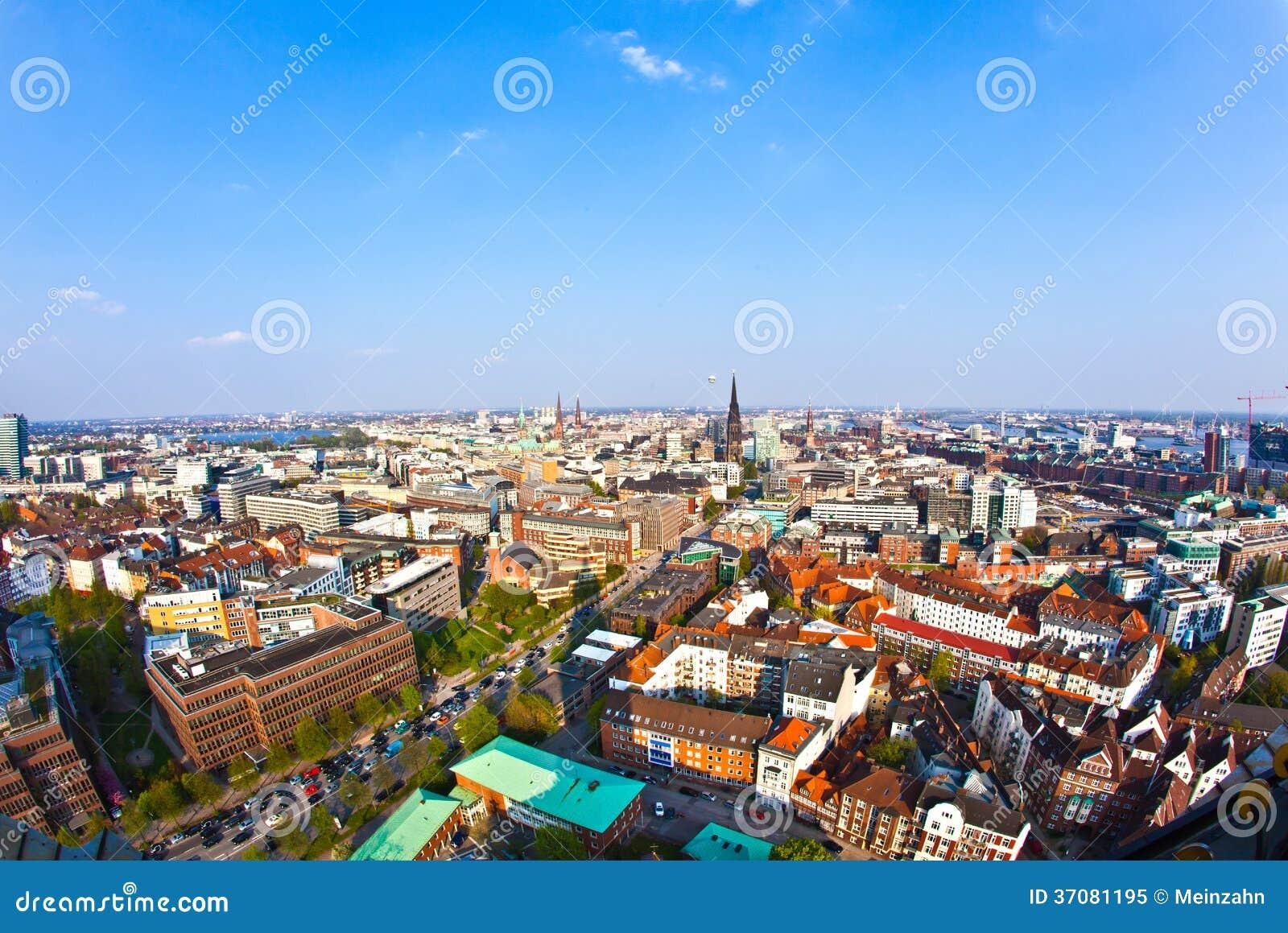 Download Pejzaż miejski Hamburg od obraz stock. Obraz złożonej z skyscraper - 37081195