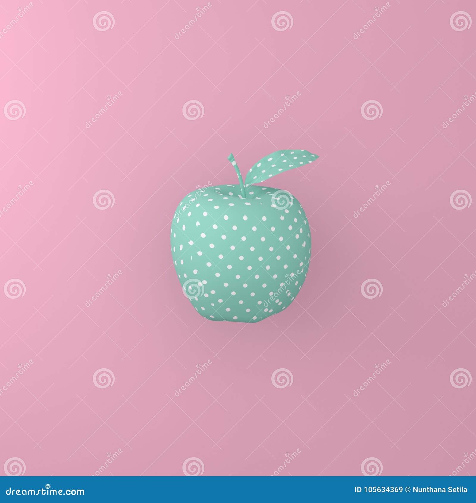 Peka modellvit på det gröna äpplet på rosa bakgrund minsta I