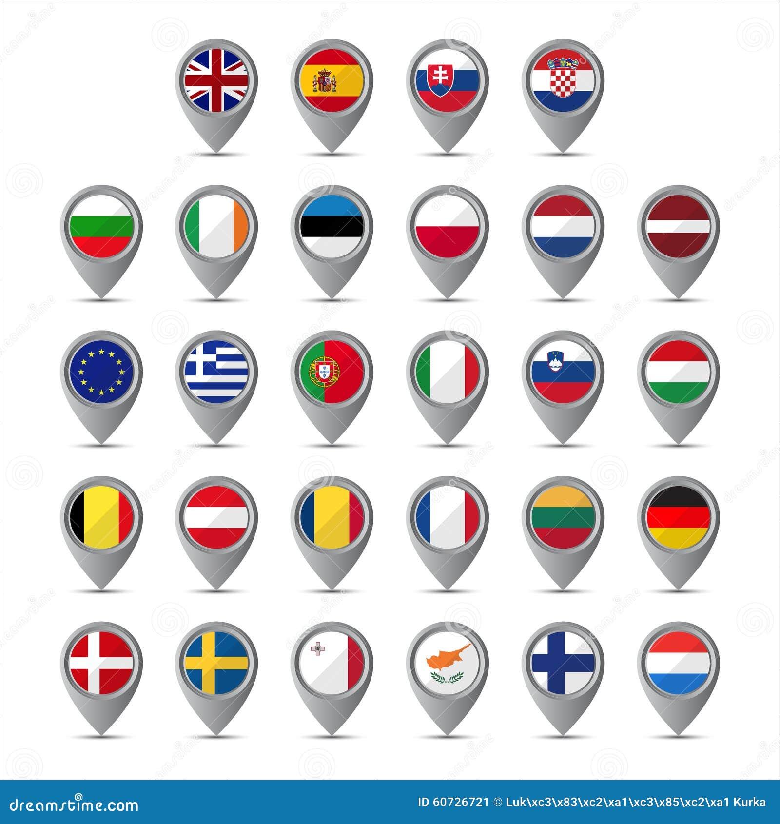Pekare 3D med flaggorna av europeisk union